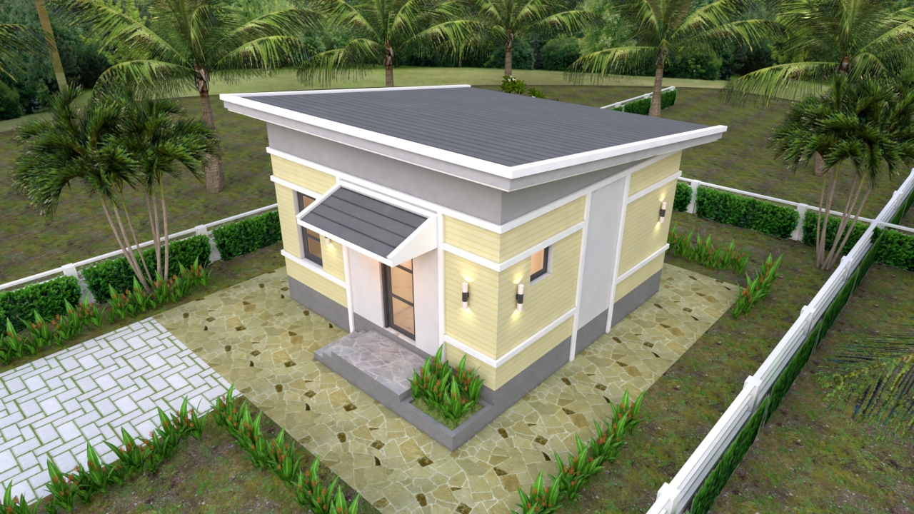 One Bedroom House Plans 6x6 With Shed Roof House Design 3d
