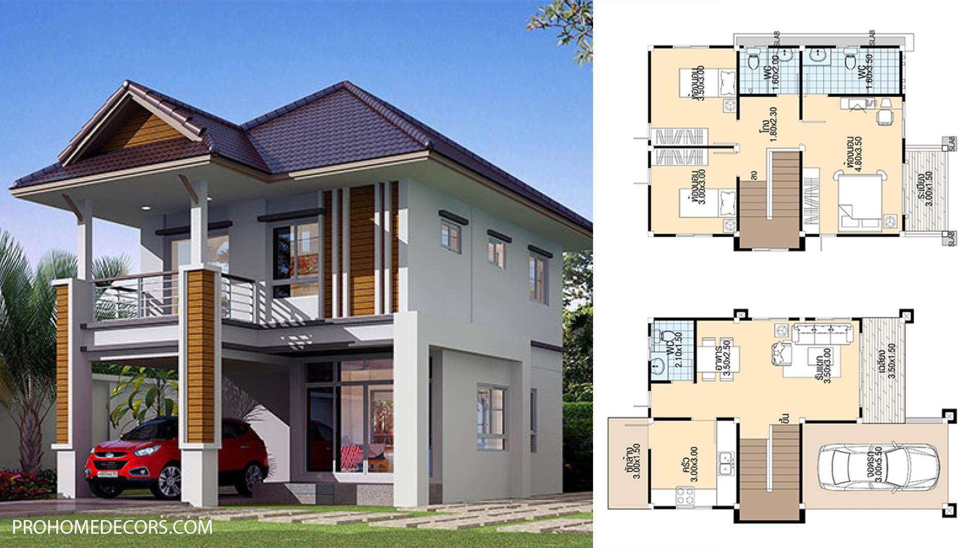 Home Plans 7.5x10 Meter with 3 Bedrooms