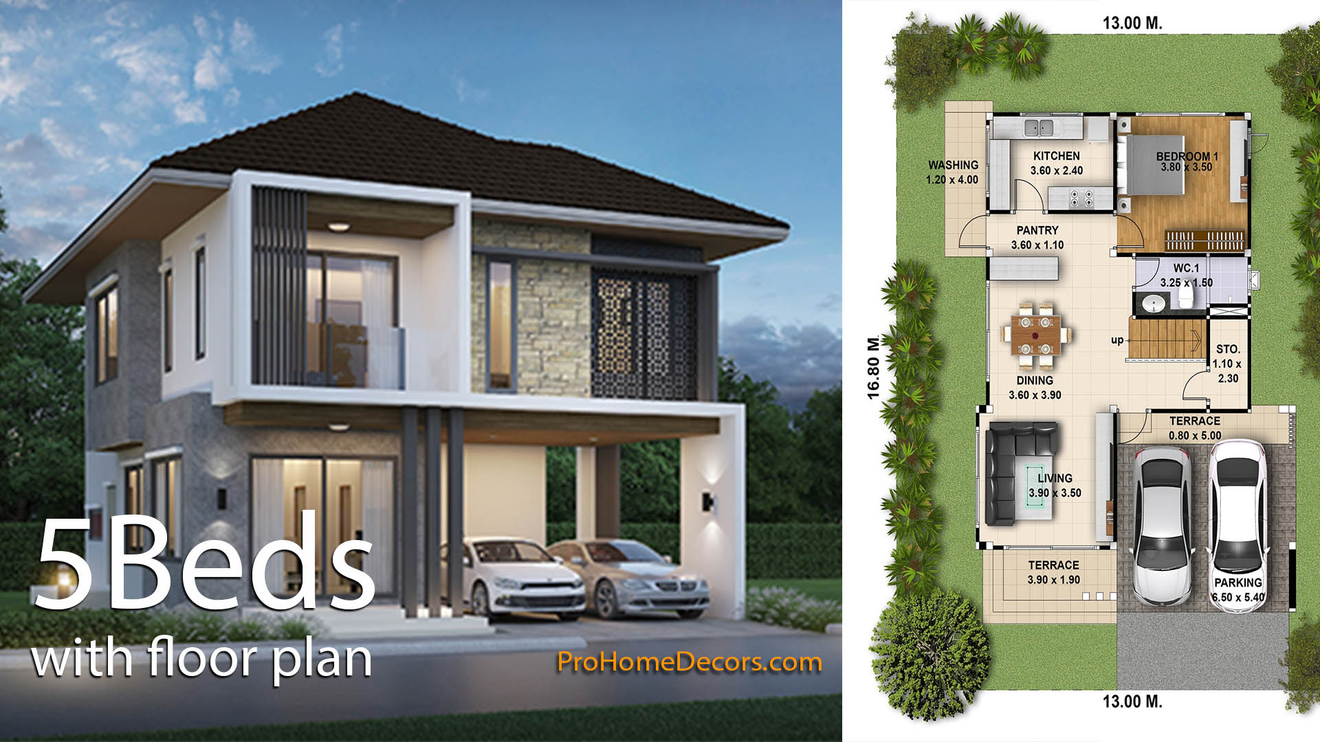 House Plan 3d 13x16 With 5 Bedrooms Pro Home Decors