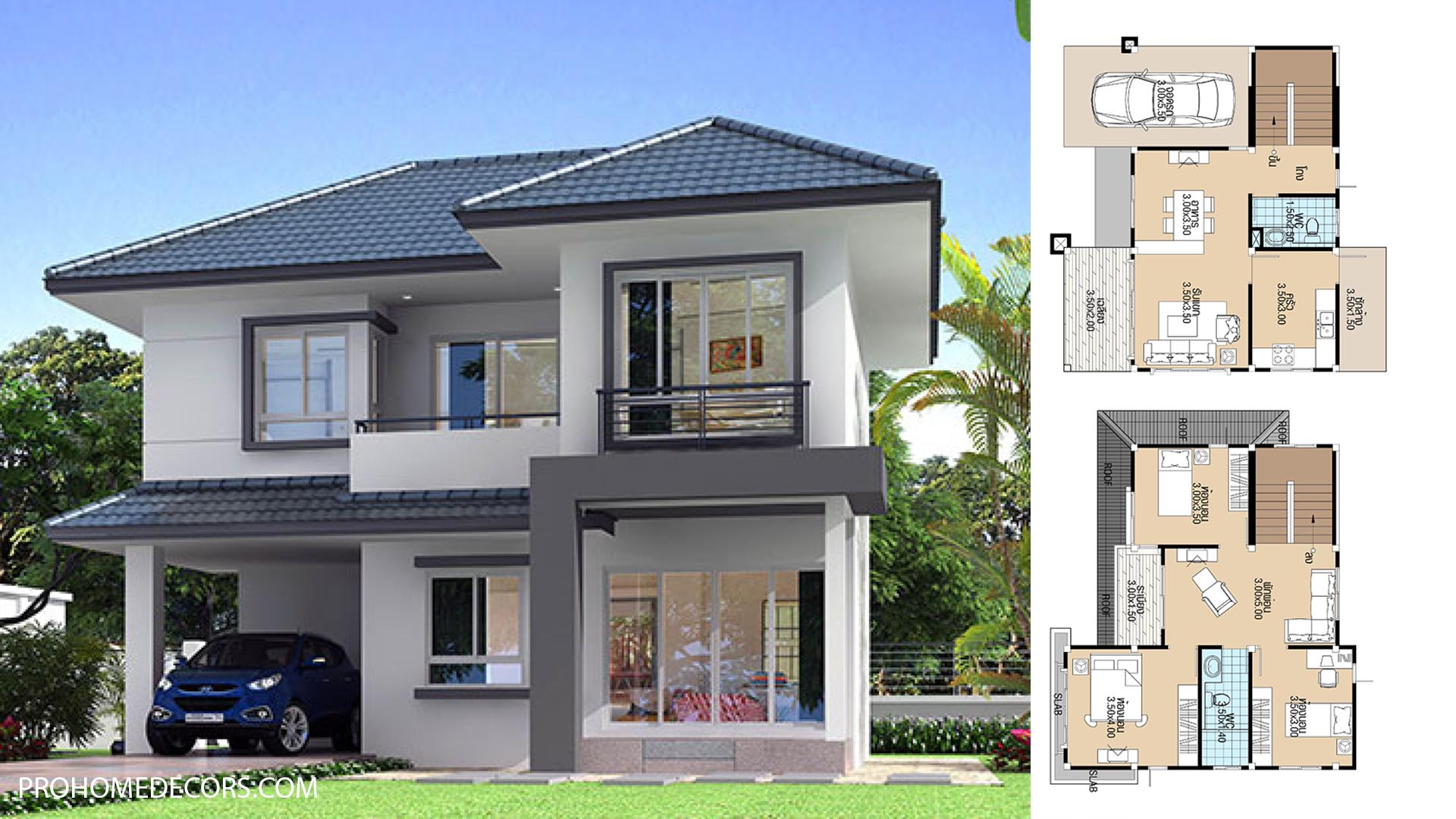 House Plans 9.5x8.5 with 3 Bedrooms