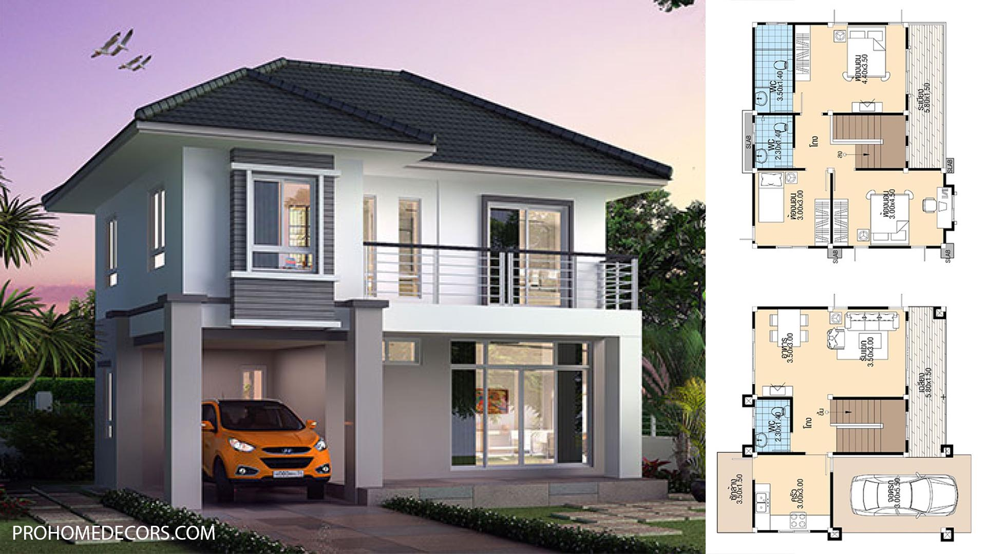 House design Plans 8.8x8.5 with 3 Bedrooms 2