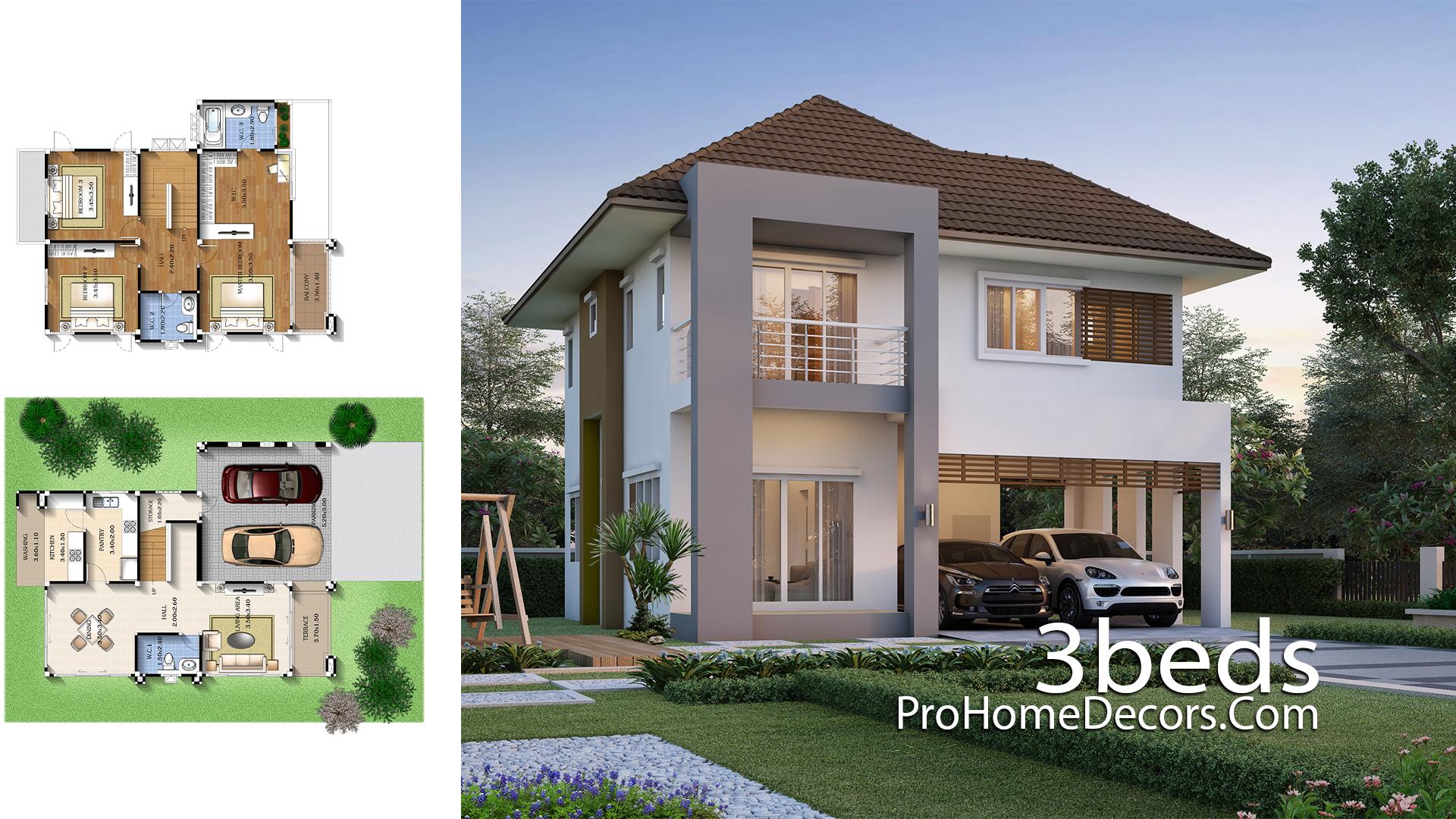 3 Bedrooms House Plan 9x11 Meters