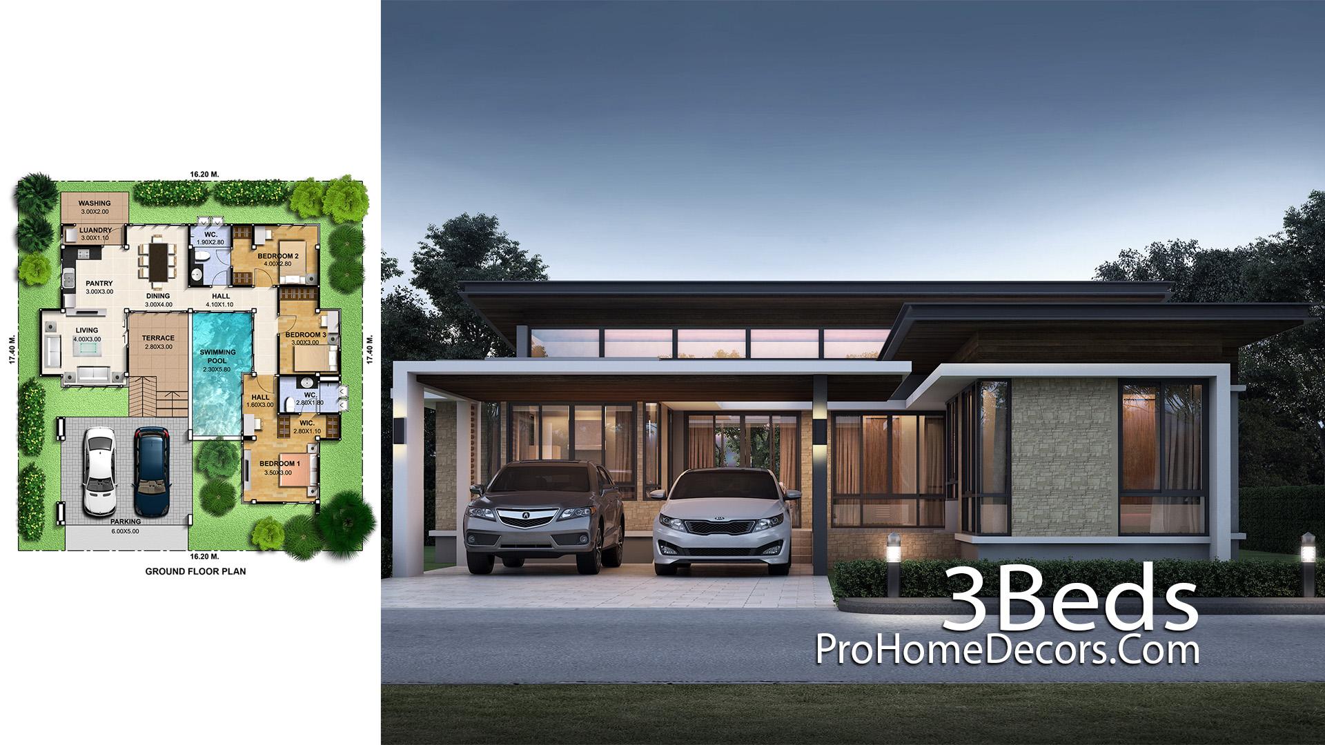 3 Bedrooms House Plan Plot 16x17 Meter