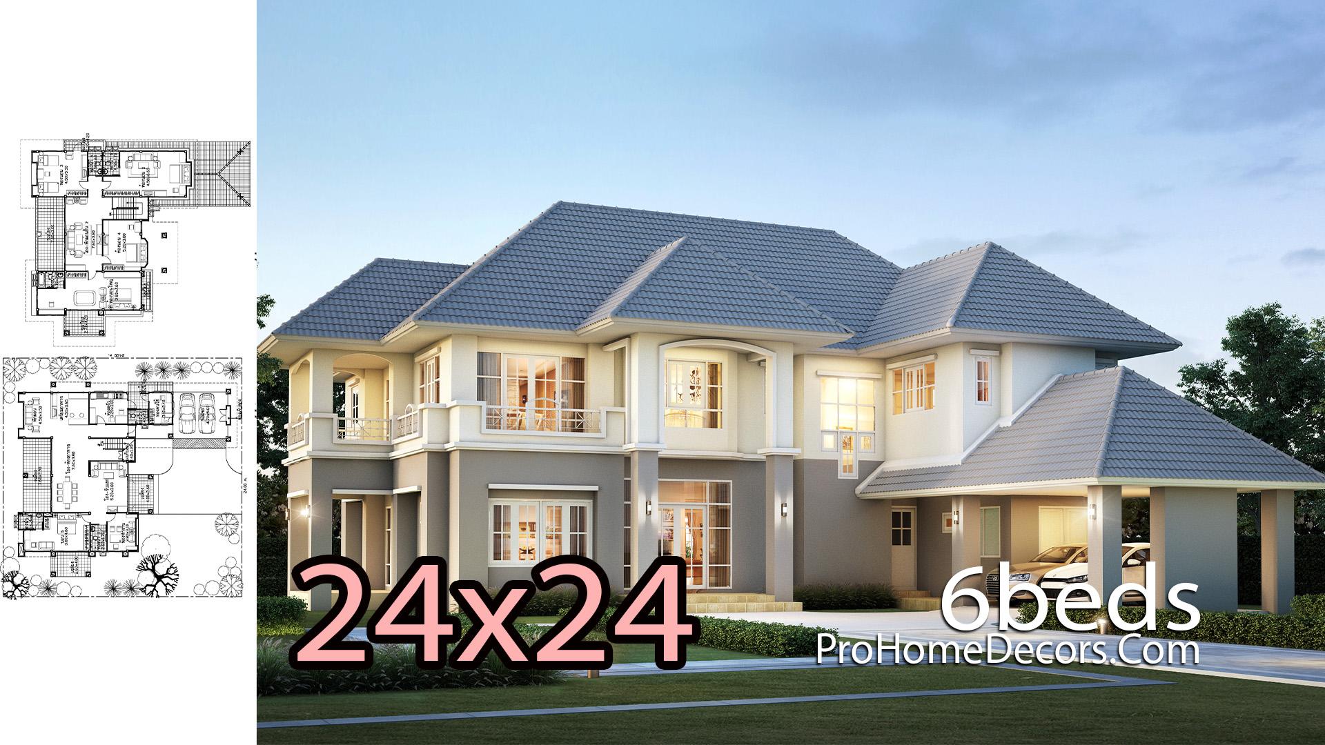 6 Bedrooms House Plan Plot 24x24 meters