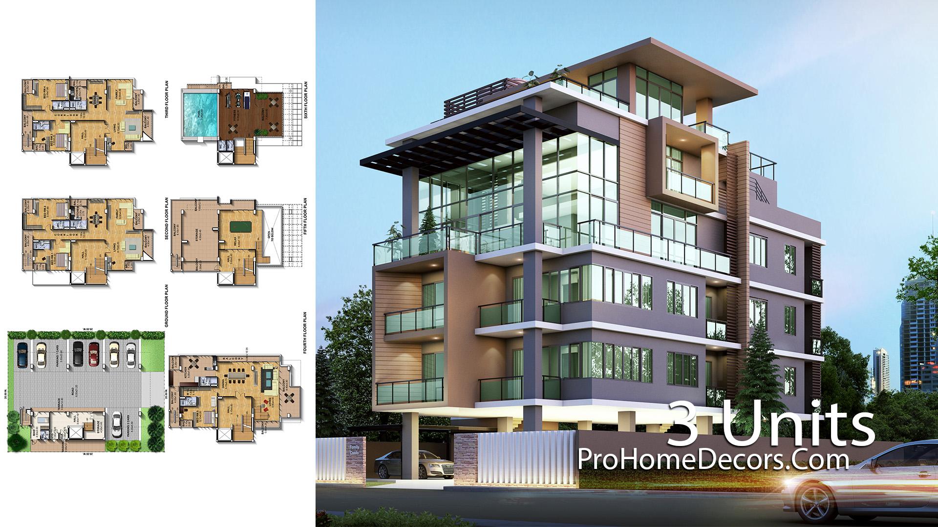 Apartmen Plan Plot 20x24 Meter with 3 Units