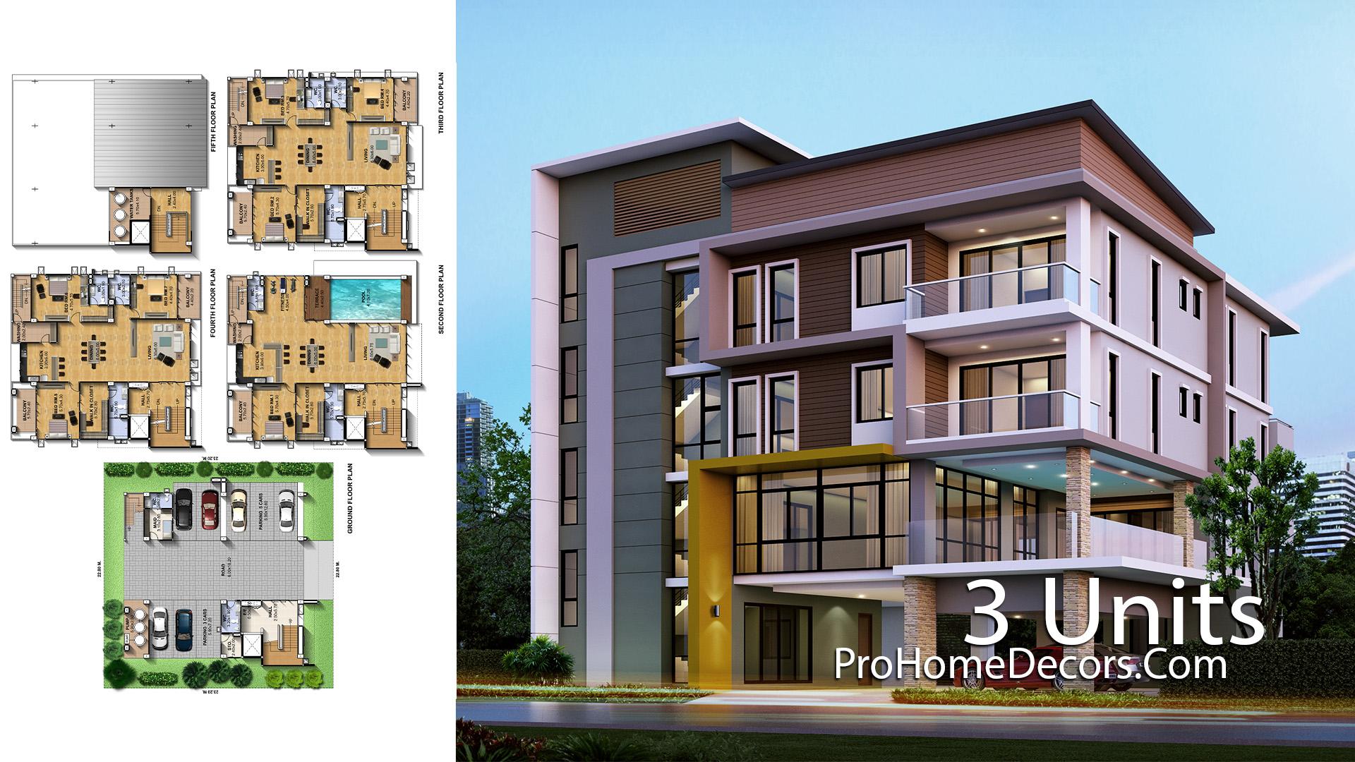 Apartment Plan Plot 22x23 meter with 3 Unit