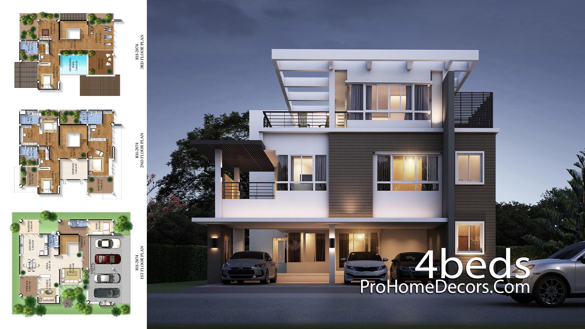 Big House Plan 14.5x16 Meter with 5 Bedrooms