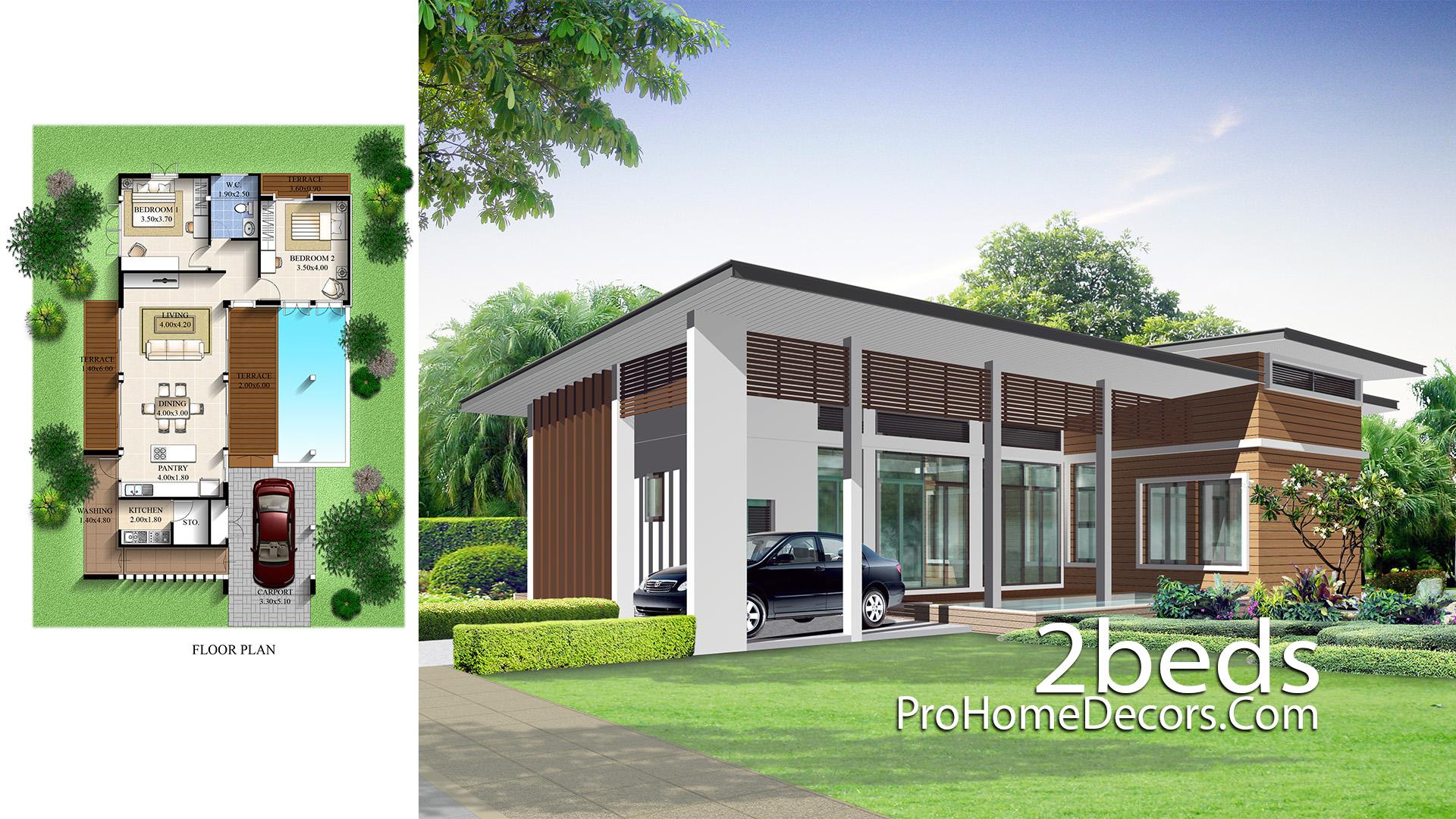 House Design Plan 10.5x16 meter with 2 Bedrooms