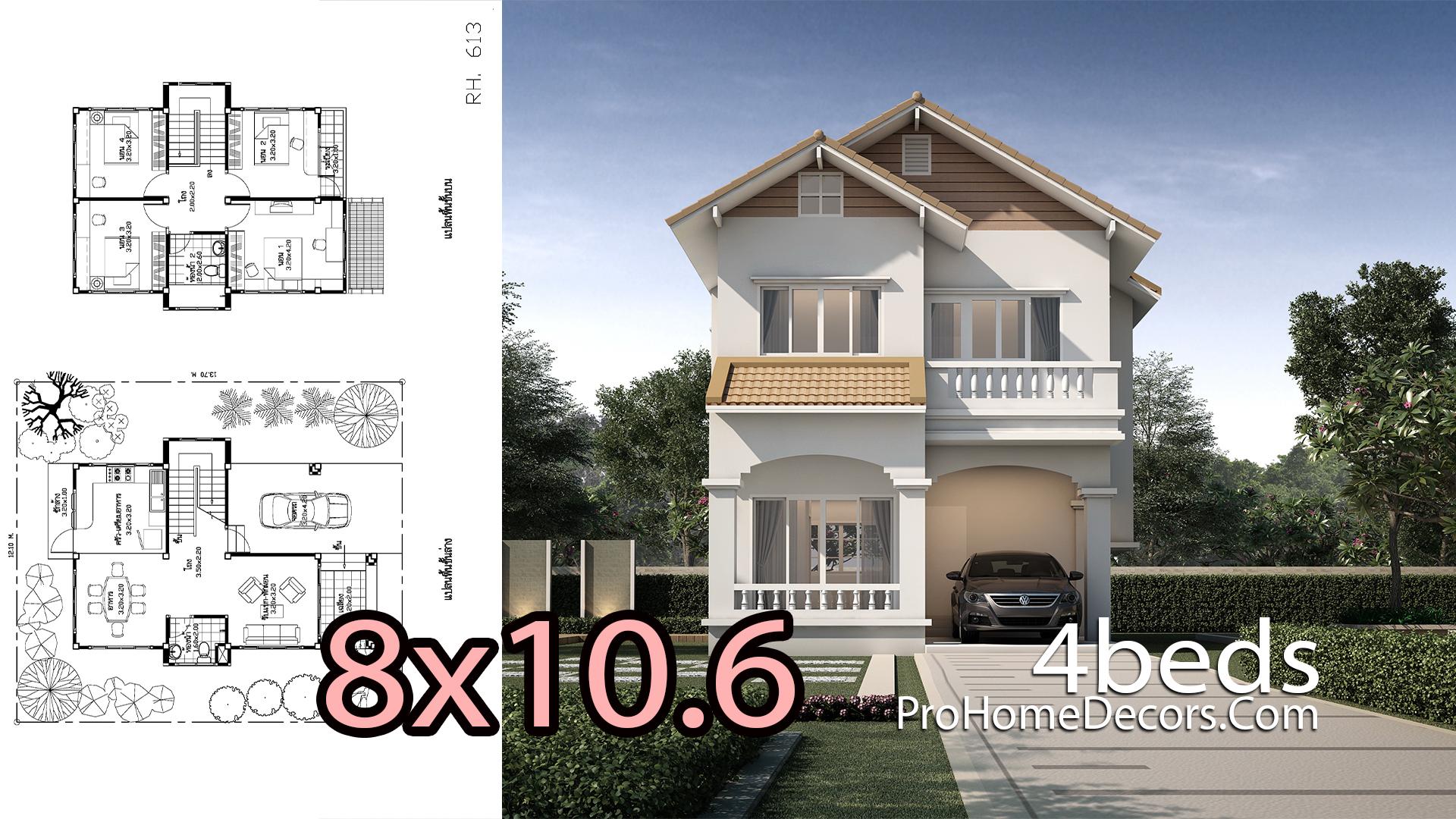 House Design Plan 8x10.6 Meters 4 Bedrooms