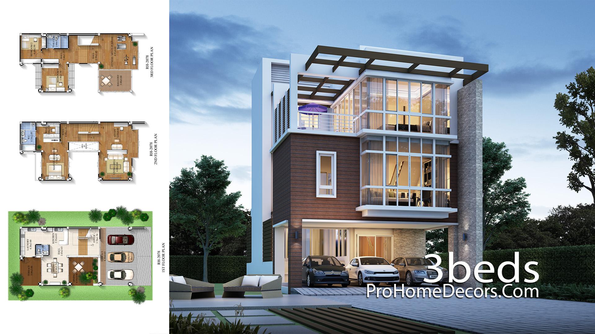 House Design Plan 8x15.5 meter with 3 Bedrooms