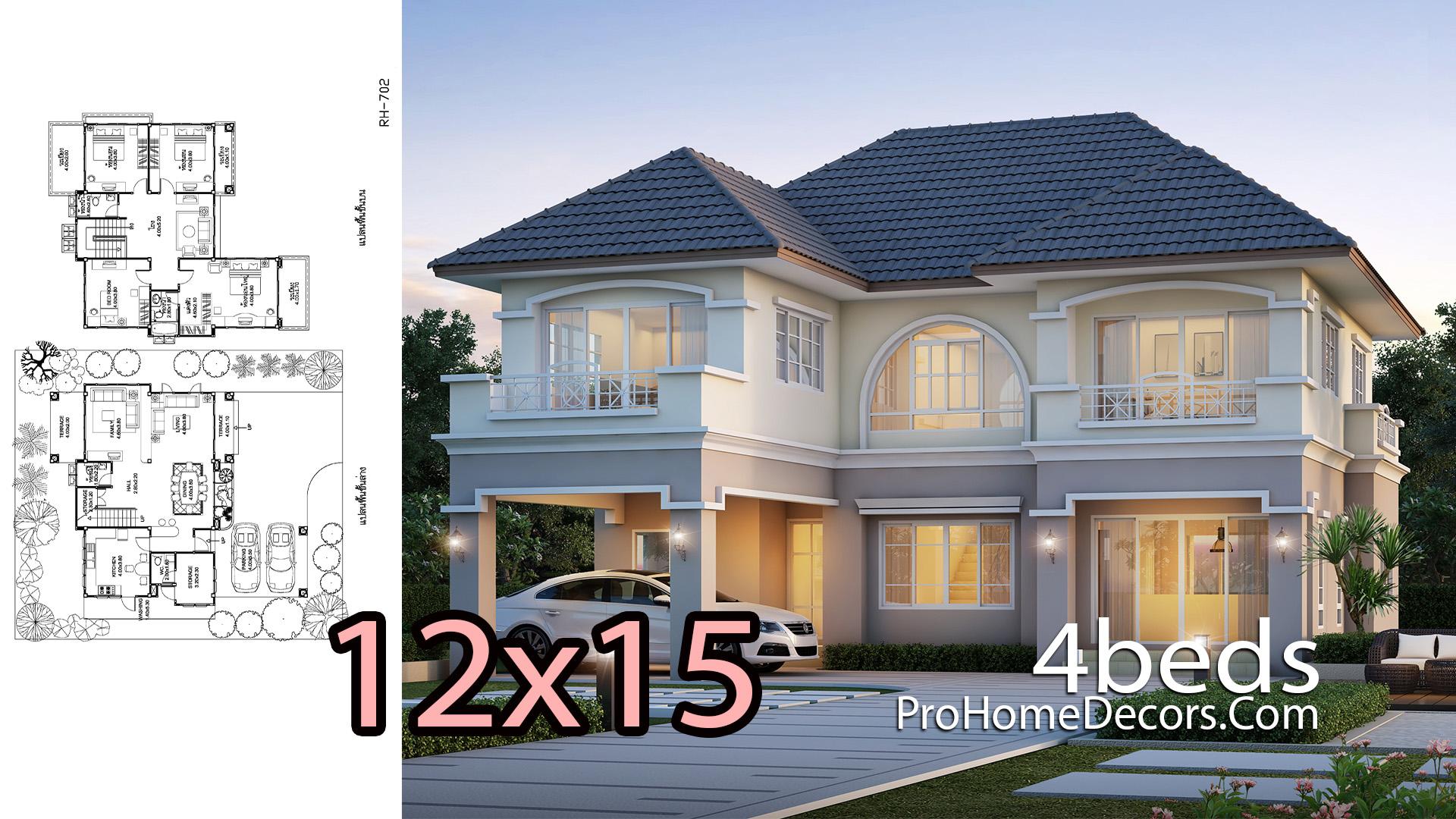 House Design Plans 12x15 Meter 4 Bedrooms