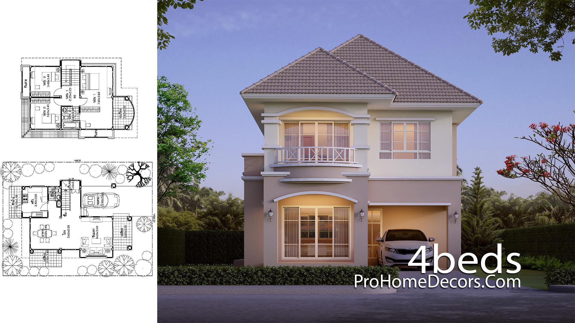 House Design Plot 12x16 Meter with 3 Bedrooms