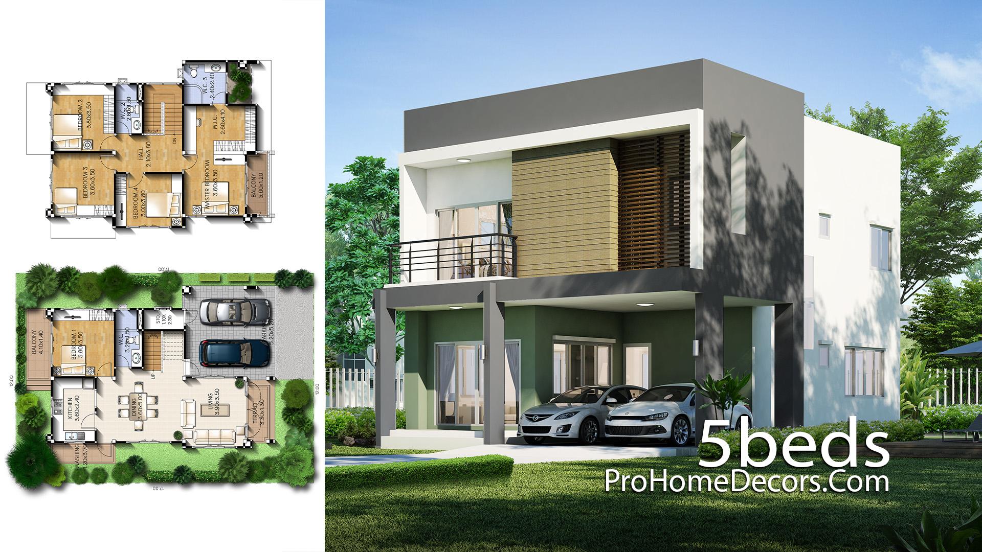 House Design Plot 12x17 Meter with 5 Bedrooms