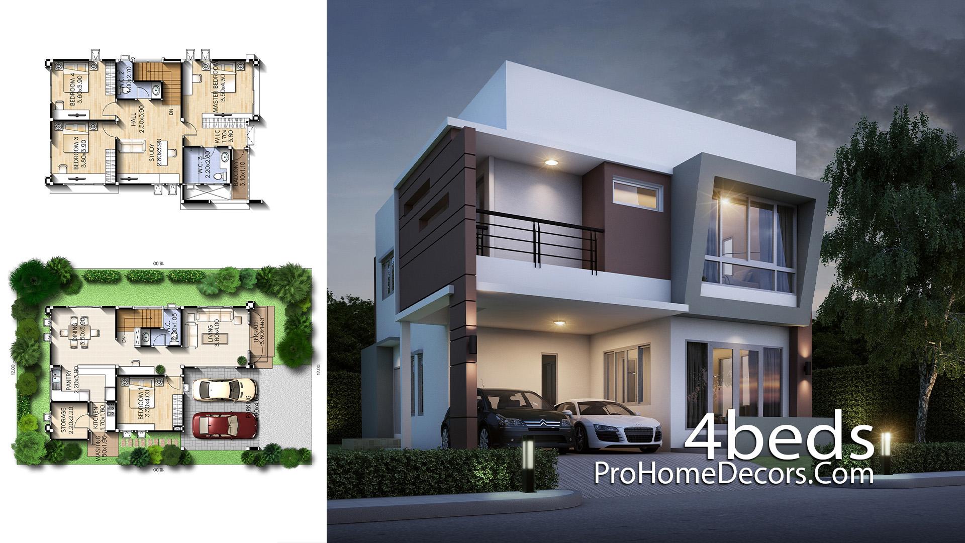 House Design Plot 12x18 Meter with 4 Bedrooms