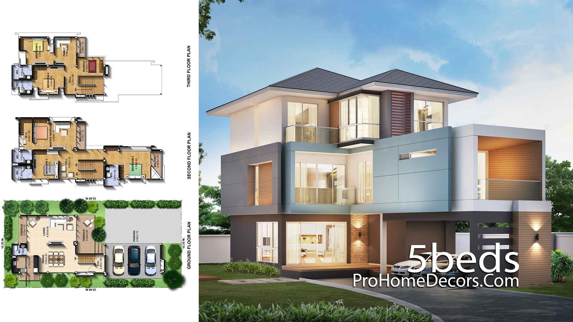House Design Plot 12x25 meter 5 Bedrooms