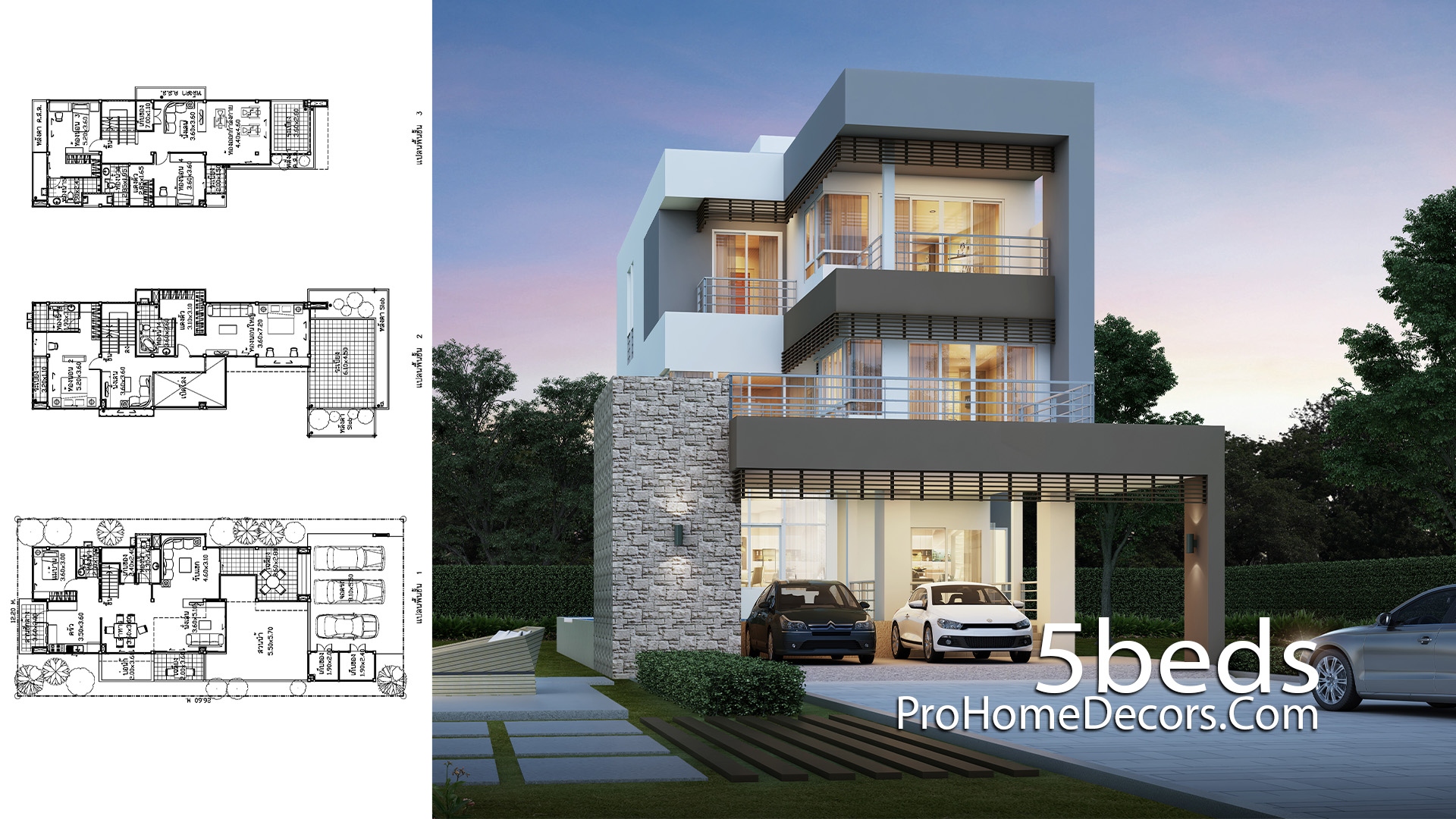 House Design Plot 12x26 Meter with 5 Bedrooms