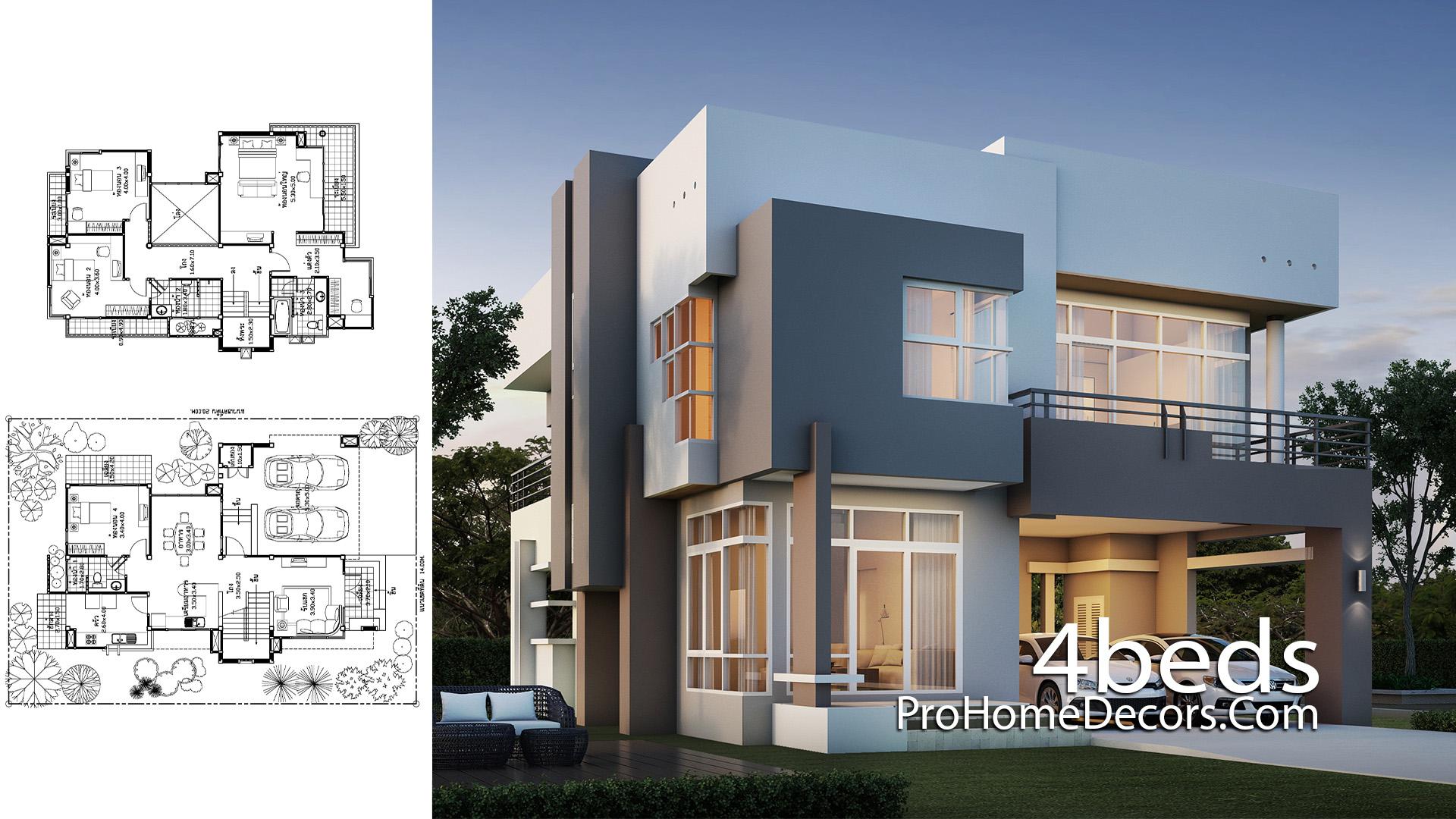 House Design Plot 14x20 Meter with 4 Bedrooms