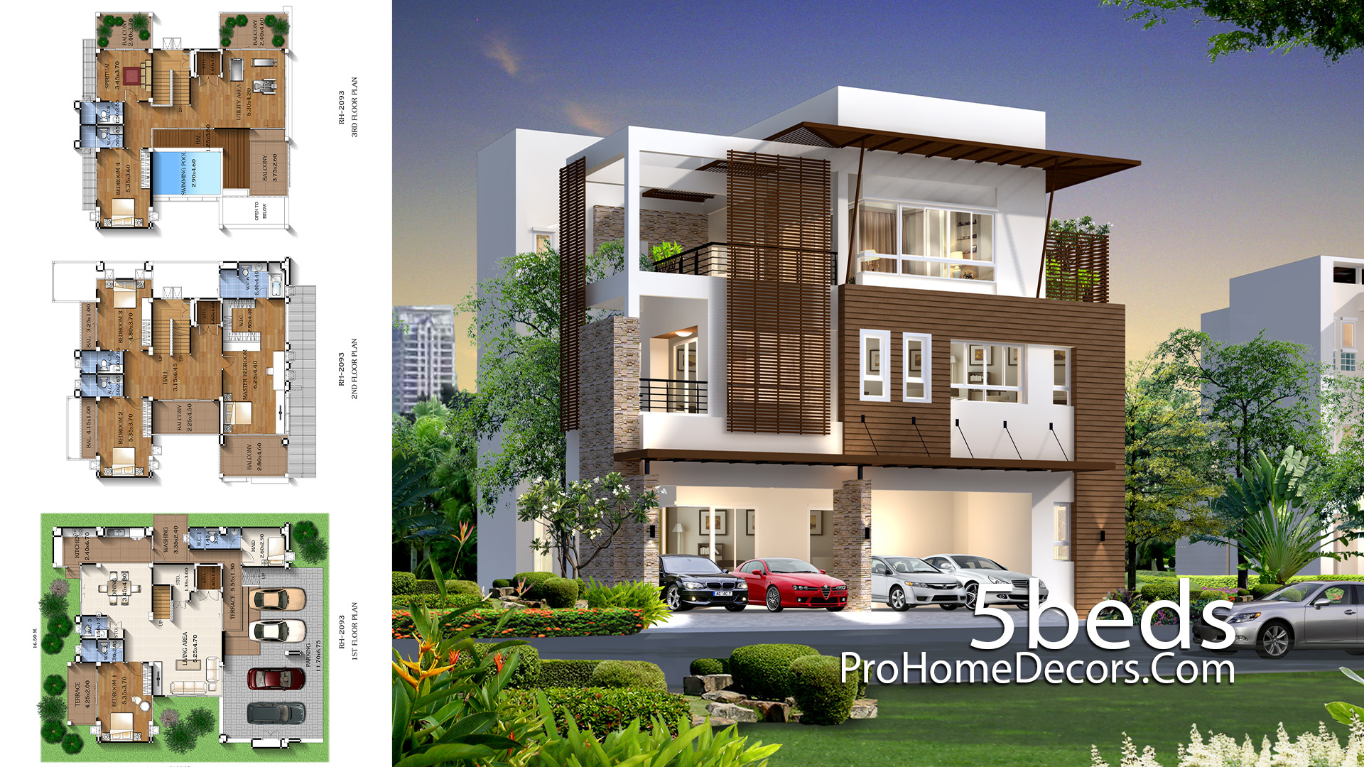 House Design Plot 16x20 meter with 5 Bedrooms