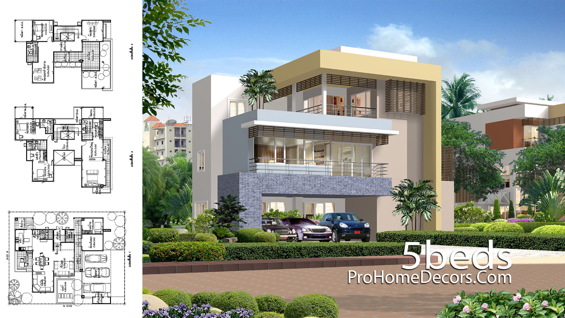 House Design Plot 16x20 with 5 Bedrooms