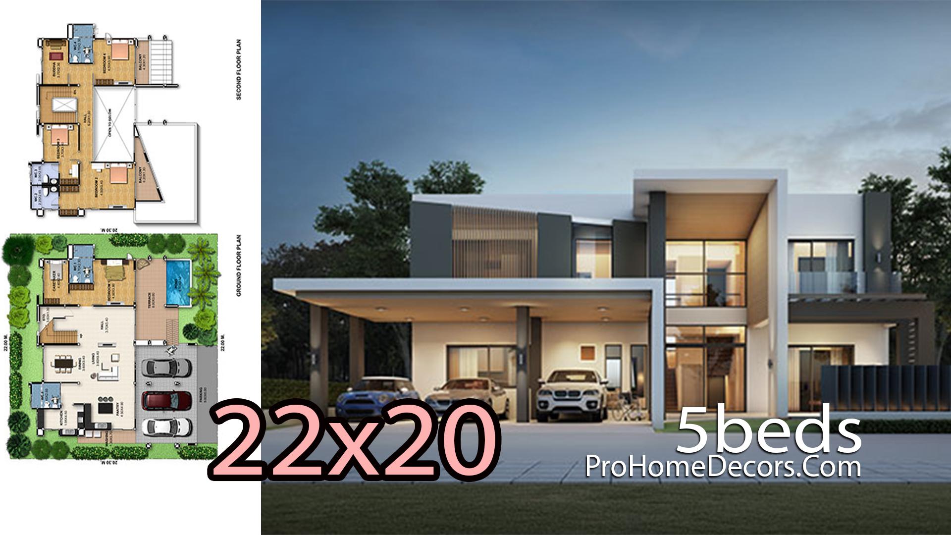House Design Plot 22x20 Meters 5 Bedrooms