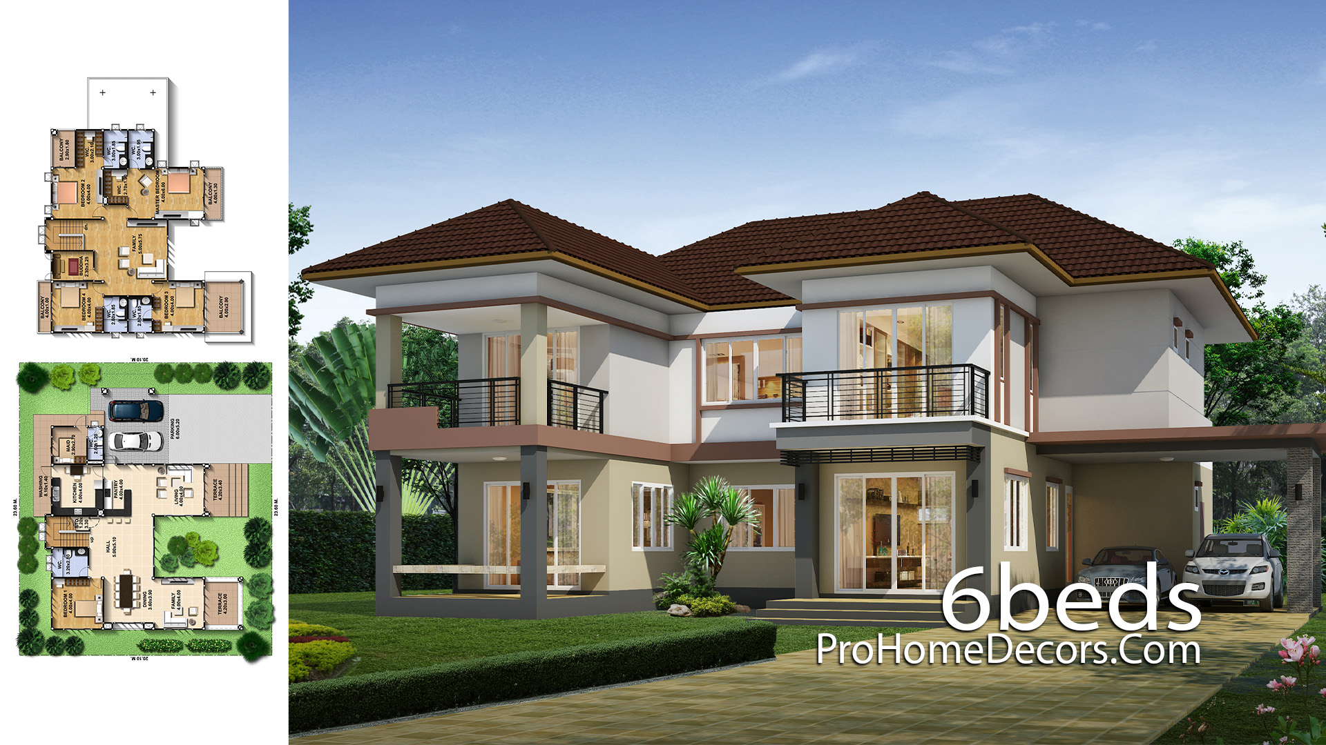 House Design Plot 23x20 meter with 6 Bedrooms