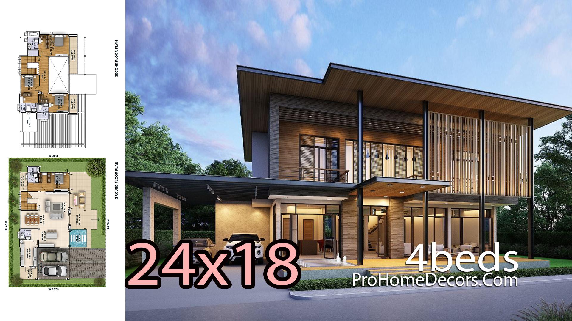 House Design Plot 24x18 meter 4 Bedrooms