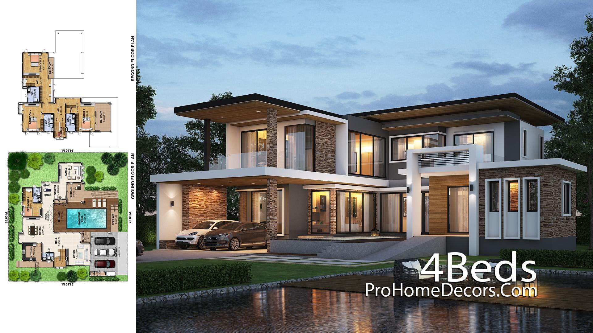 House Design Plot 26x24 Meter with 4 Bedrooms