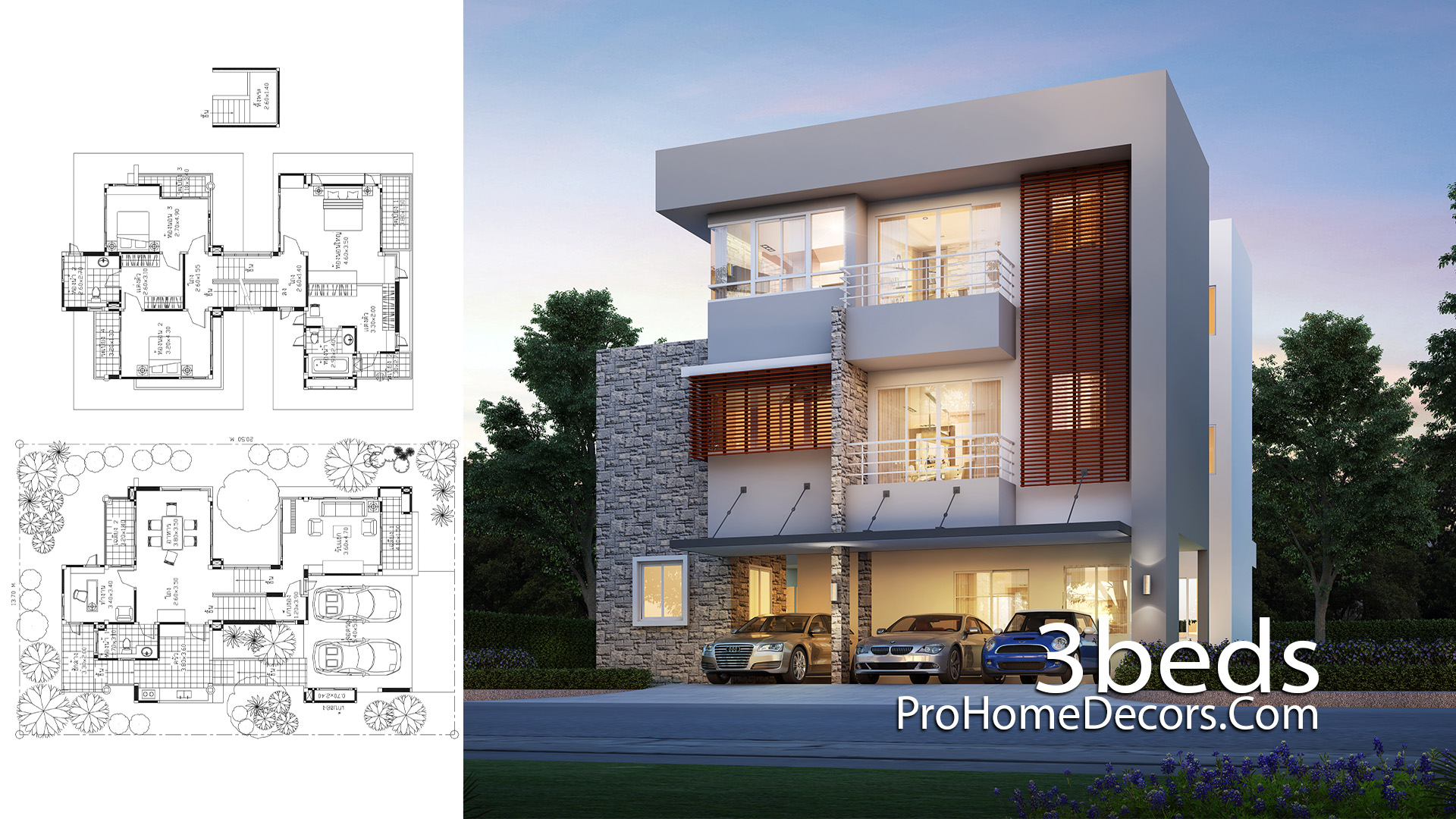House Idea Plot 13x20 Meter with 3 Bedrooms