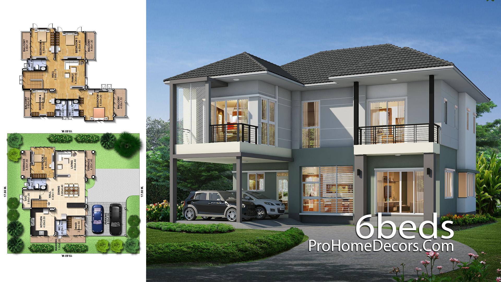 House Idea Plot 17x19 meter 6 Bedrooms