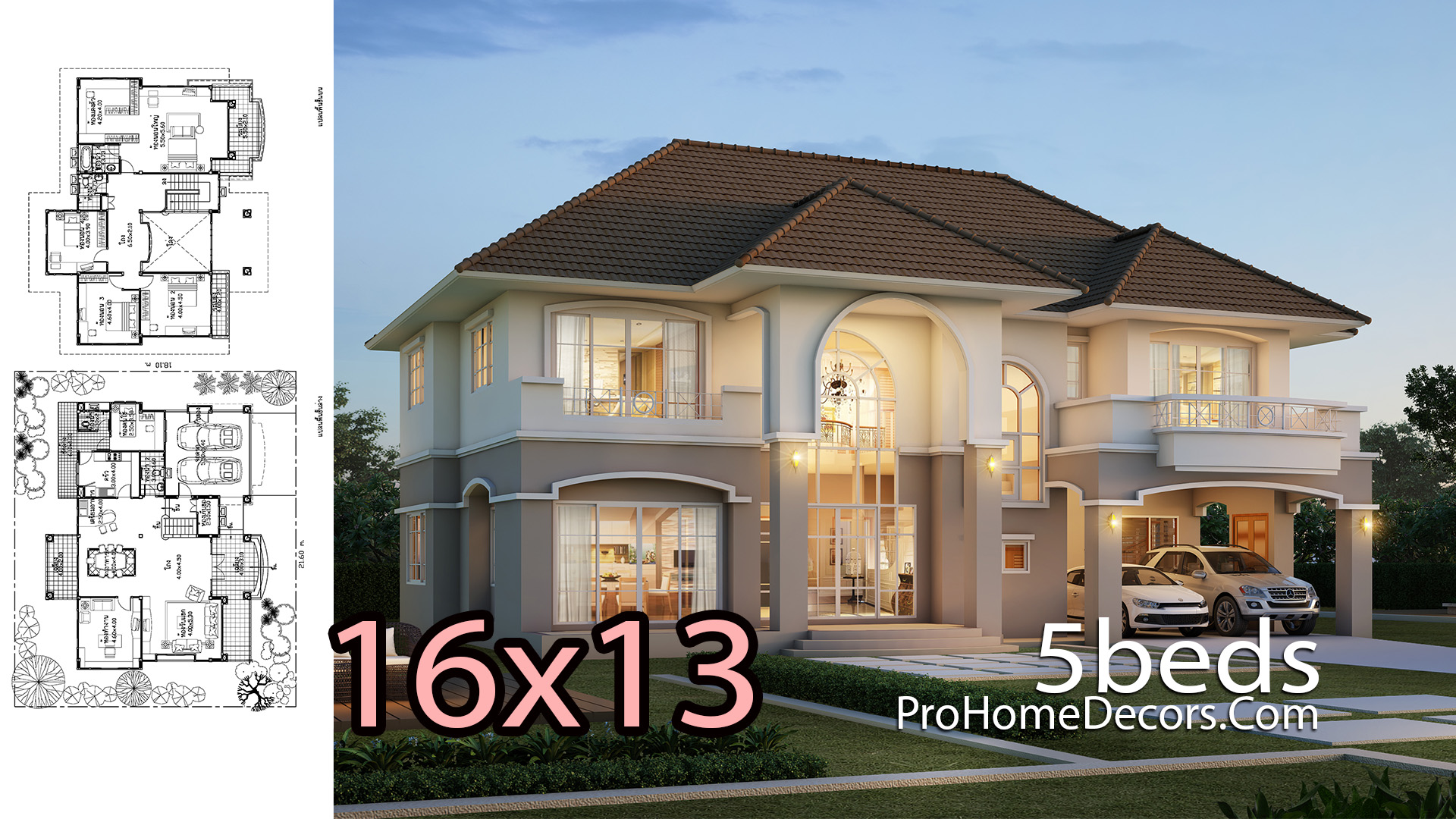 House Plan 16x13 Meter with 5 Bedrooms