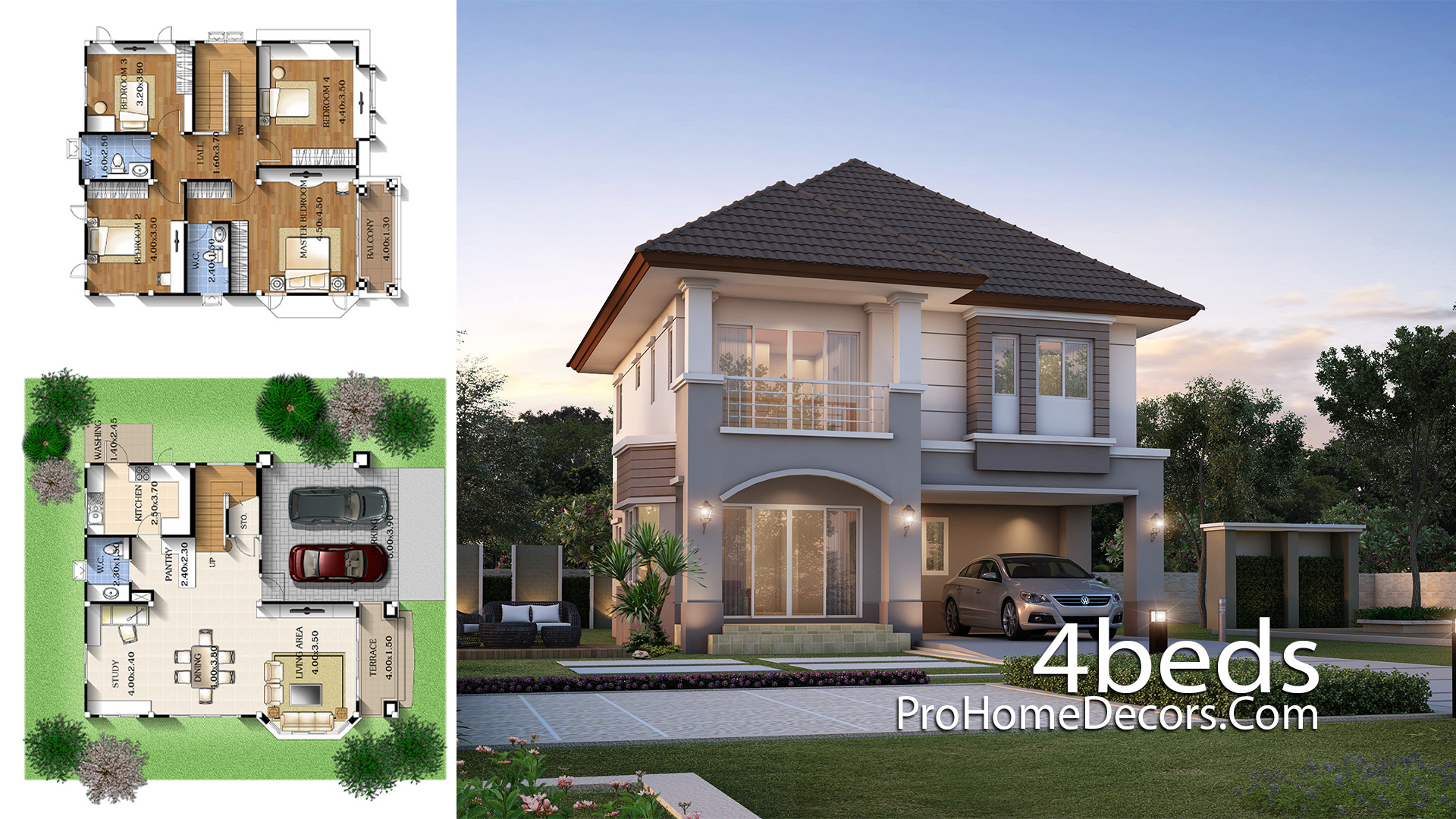 House Plan Idea 9x11 meter with 4 Bedrooms
