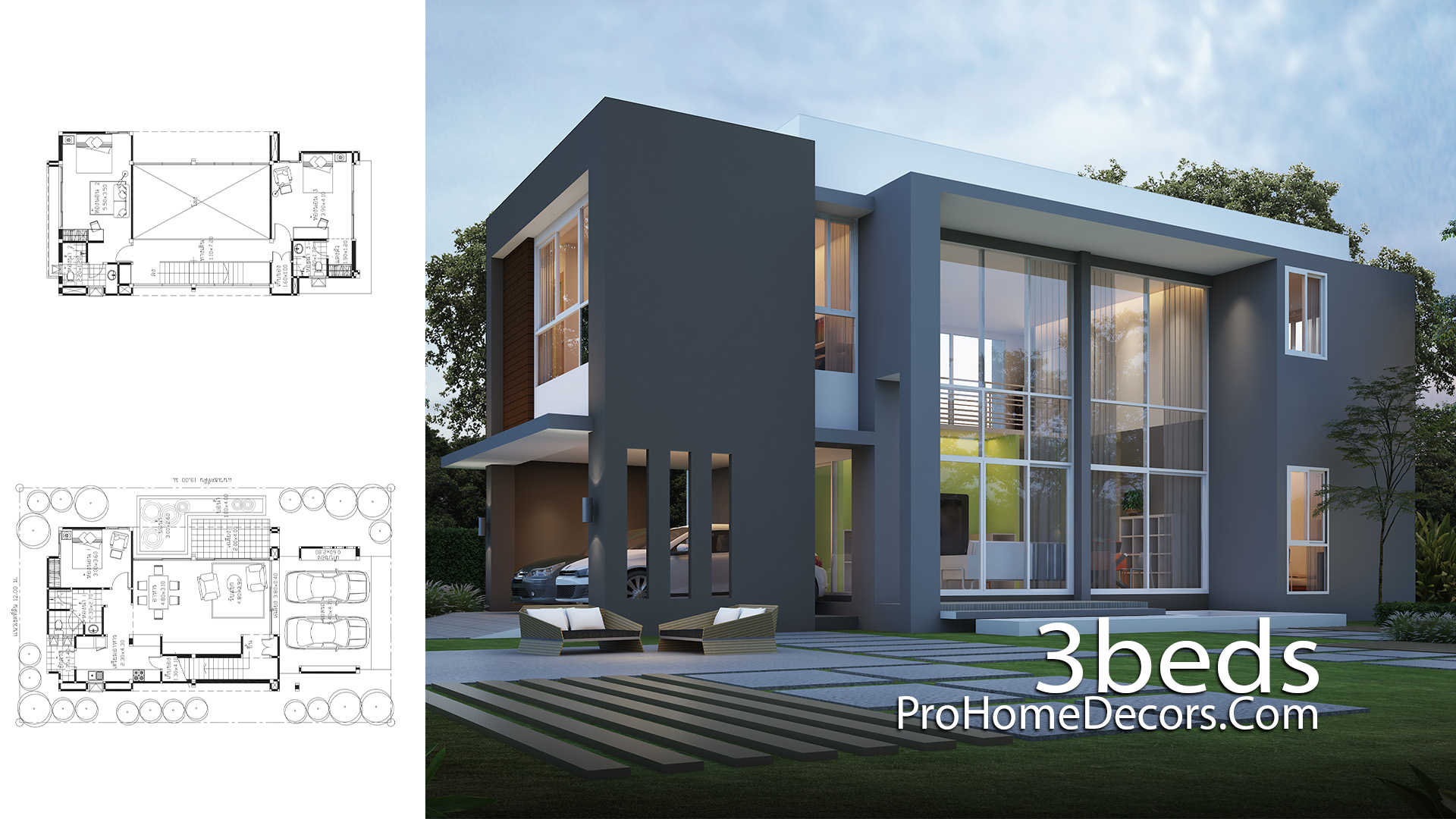House Plan Plot 12x19 Meter with 3 Bedrooms