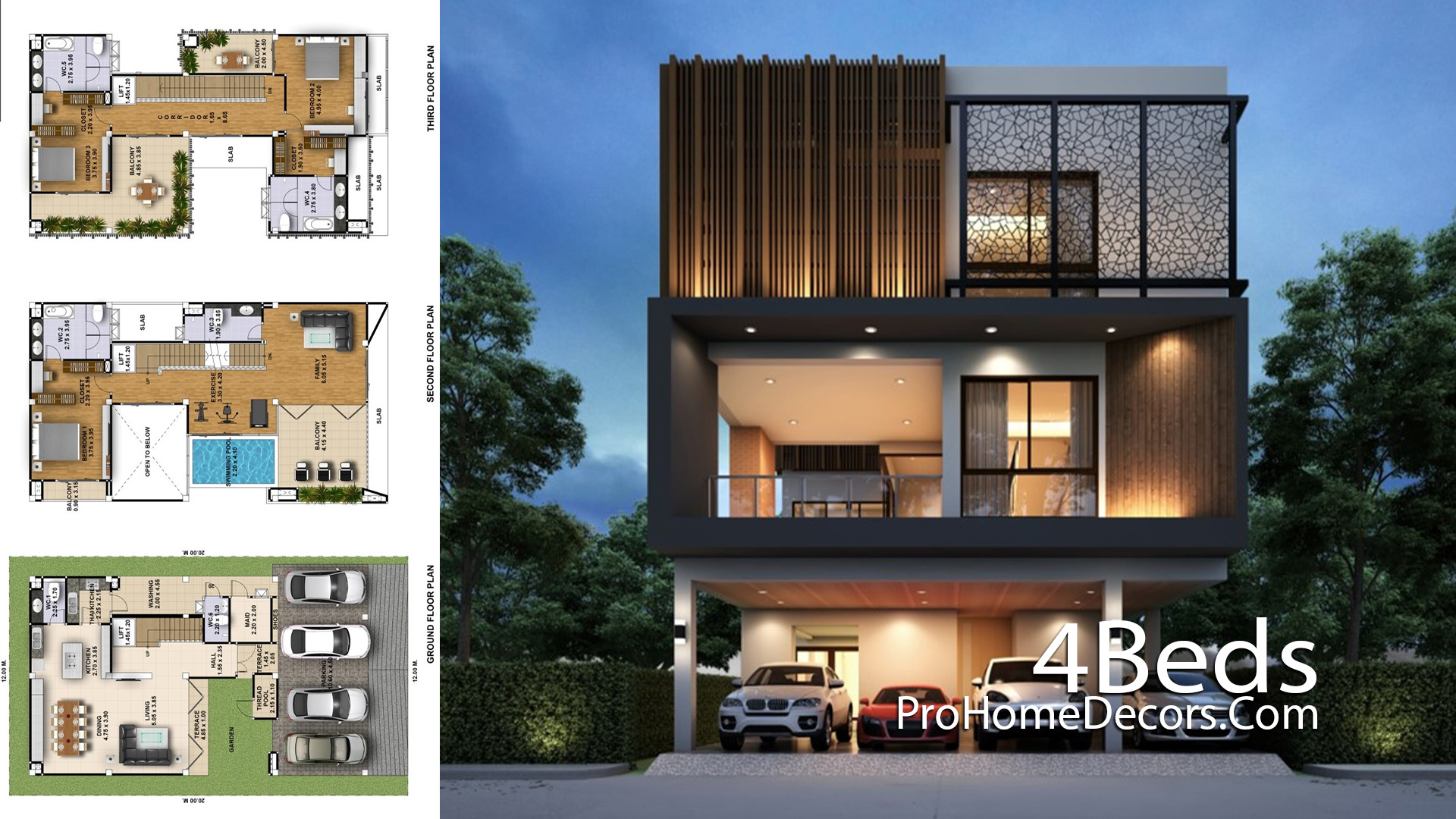 House Plan Plot 12x20 Meter with 4 Bedrooms
