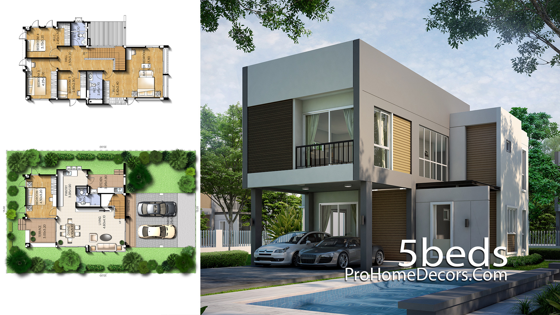 House Plan Plot 13x20 Meter with 5 Bedrooms