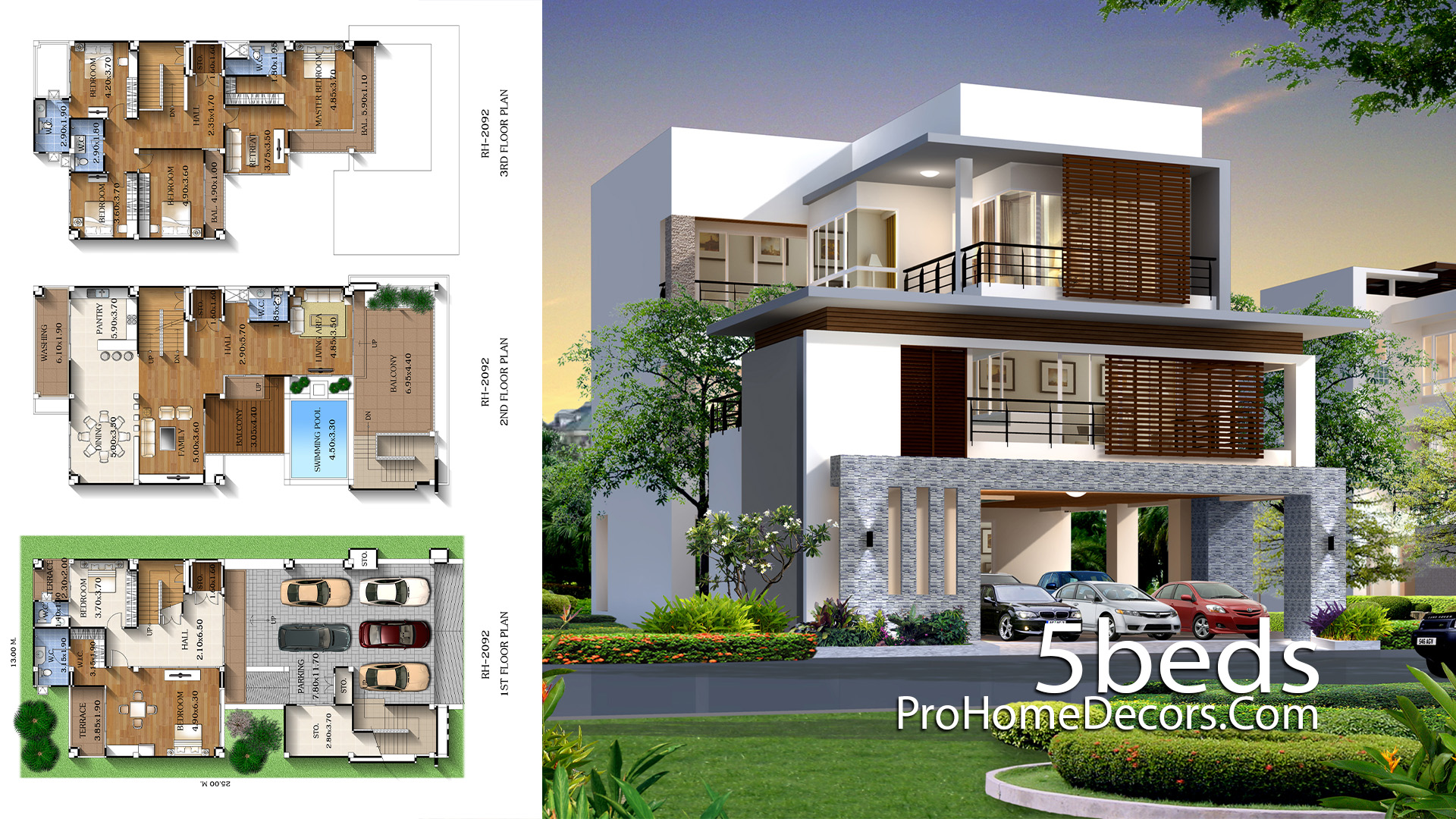 House Plan Plot 13x25 Meter with 5 Bedrooms