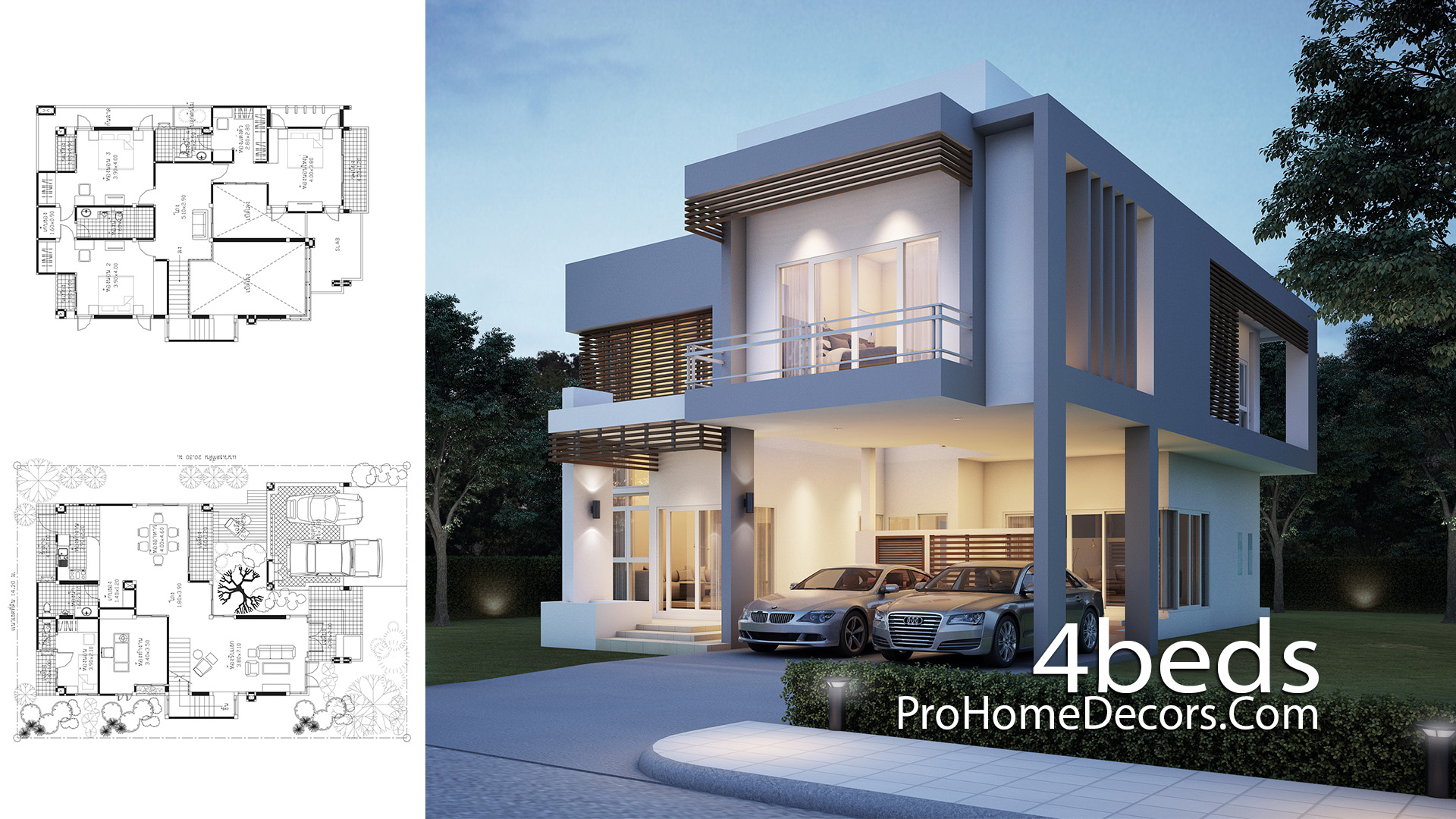 House Plan Plot 14x20 Meter with 4 Bedrooms