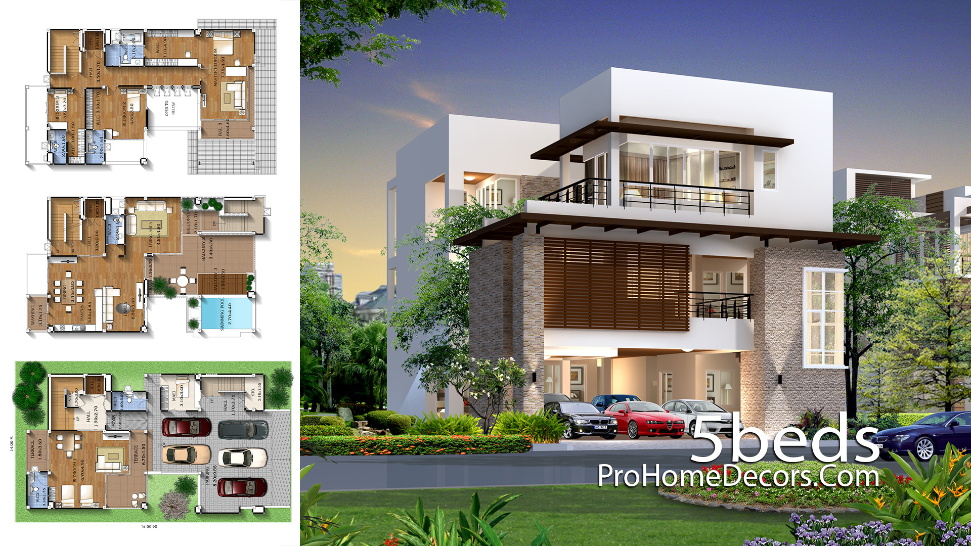 House Plan Plot 14x24 Meter with 5 Bedrooms