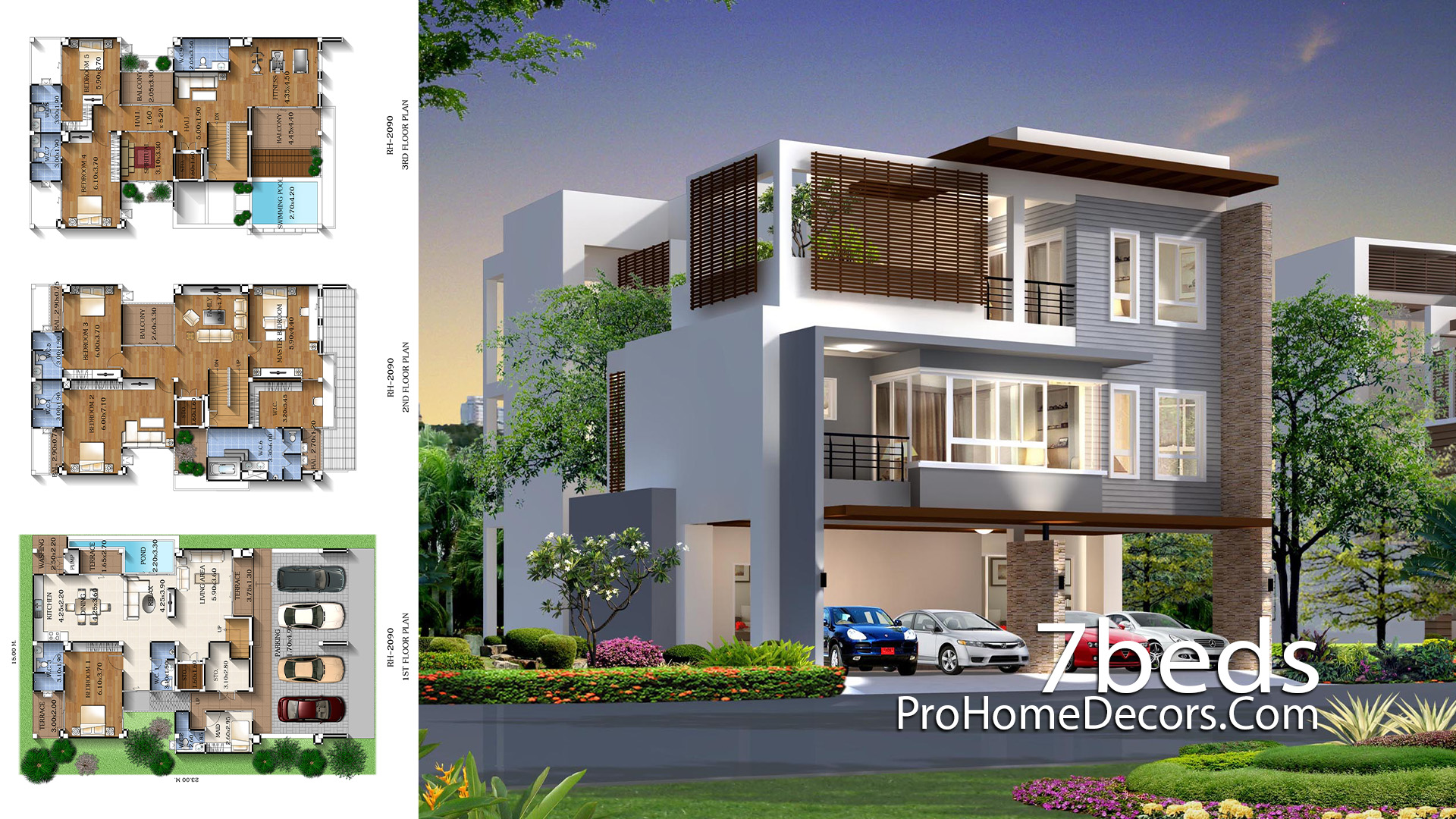 House Plan Plot 15x23 meter with 7 Bedrooms