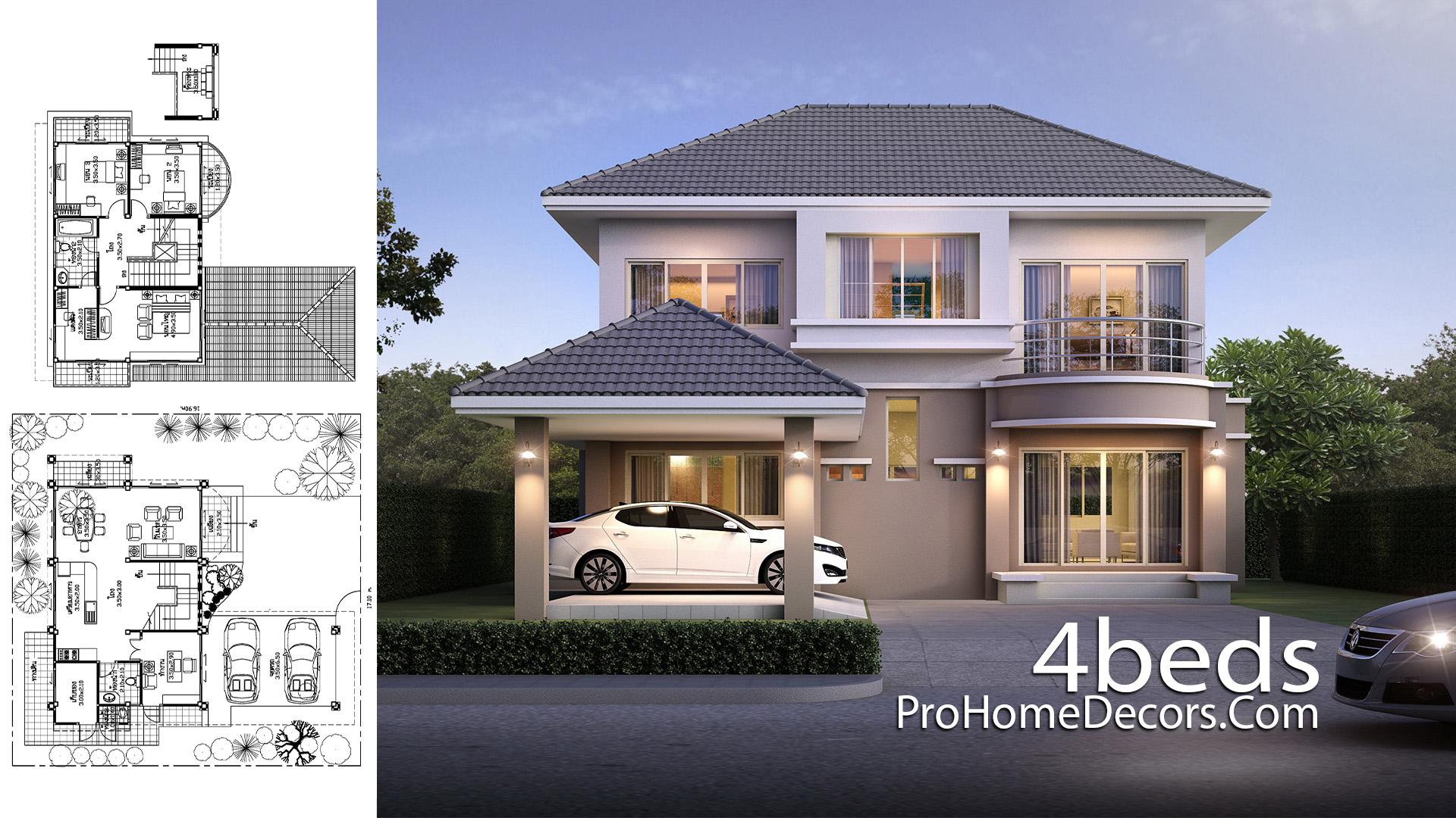 House Plan Plot 17x17 Meter 4 Bedrooms