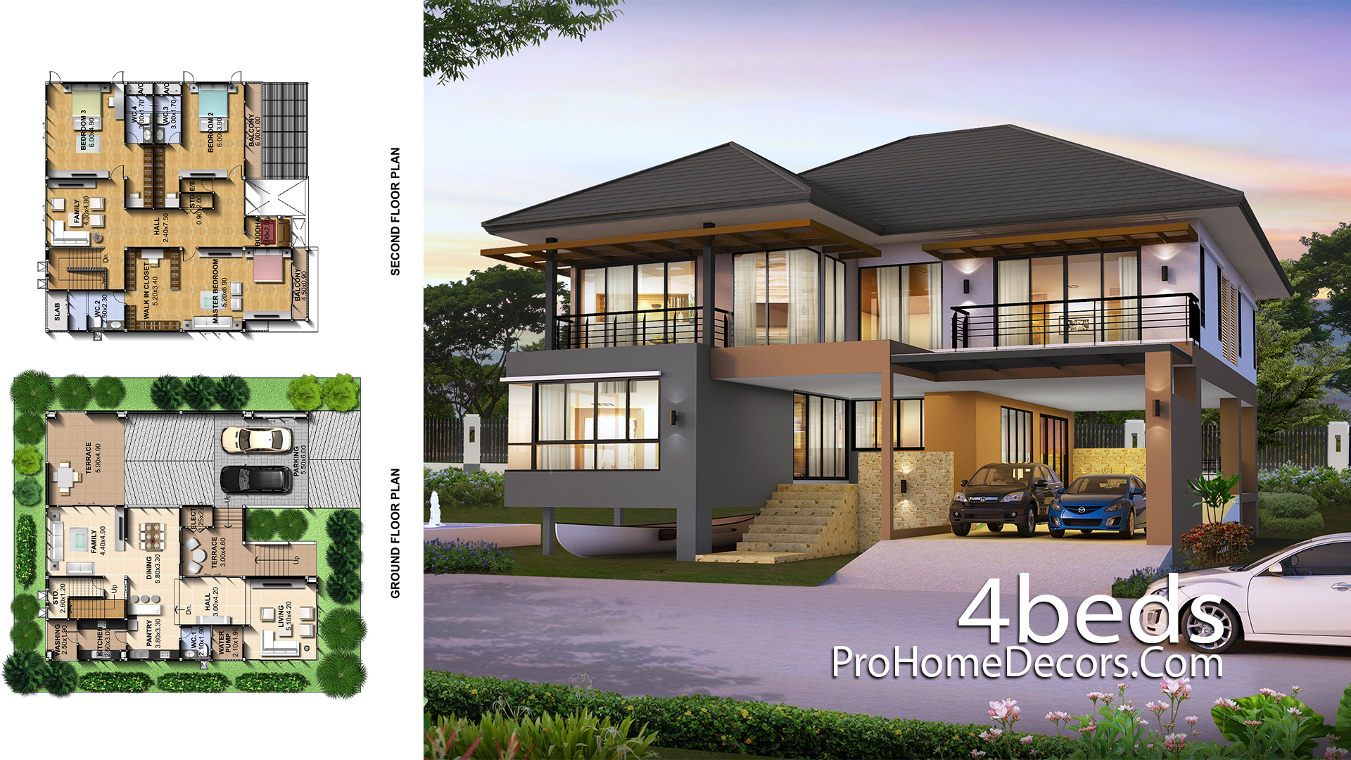 House Plans Idea 15x15 Meter with 3 Bedrooms