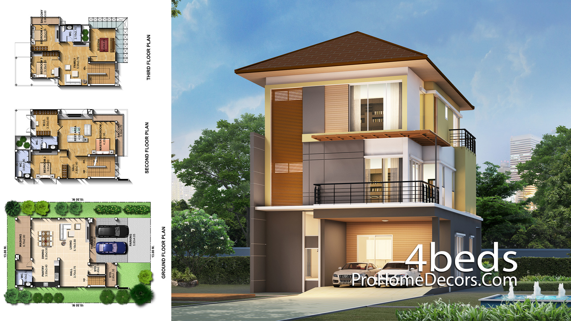 House Plans Idea 8.7x13 Meter with 4 Bedrooms