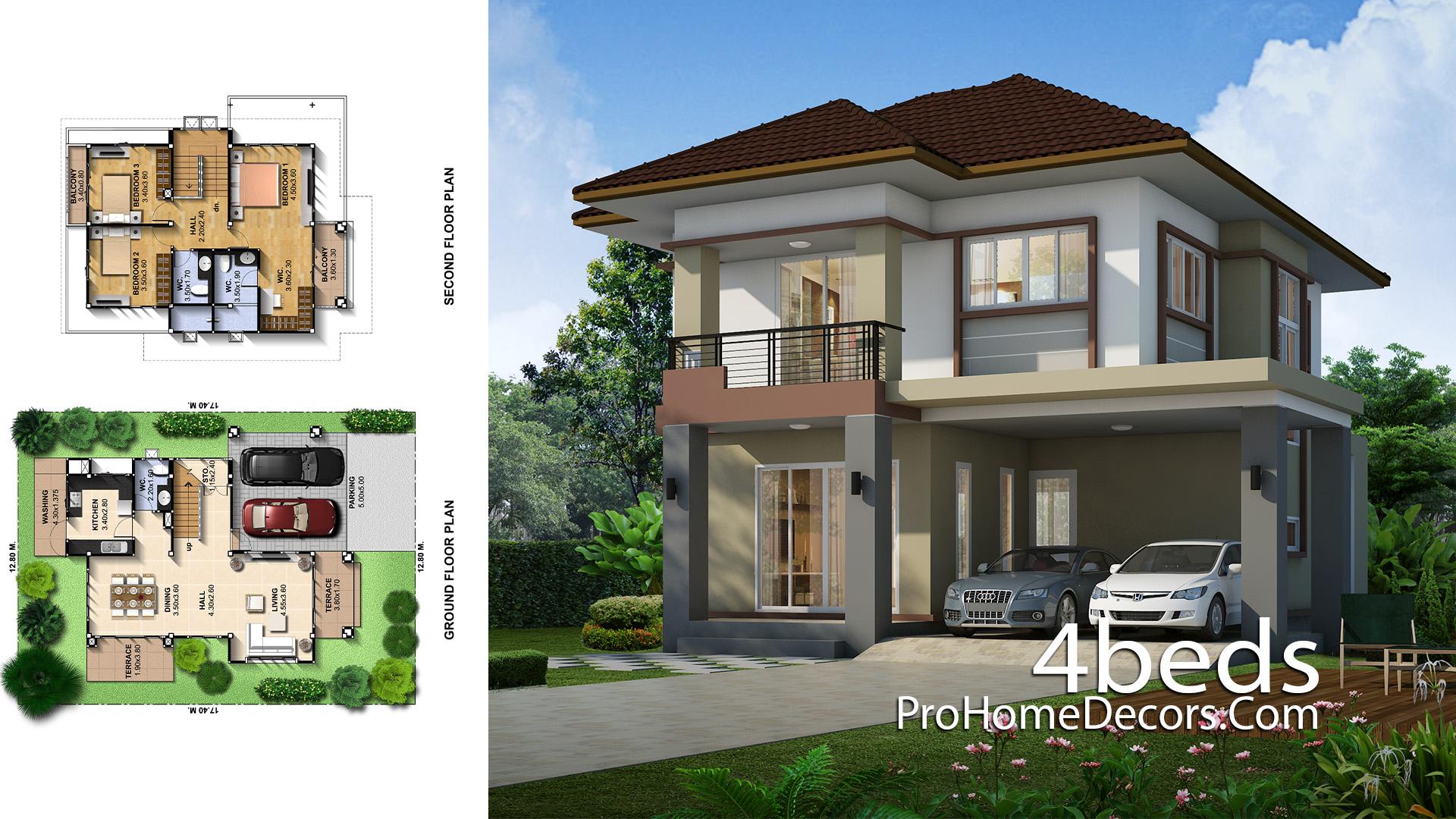 House Plans Plot 12x17 Meter 3 Bedrooms