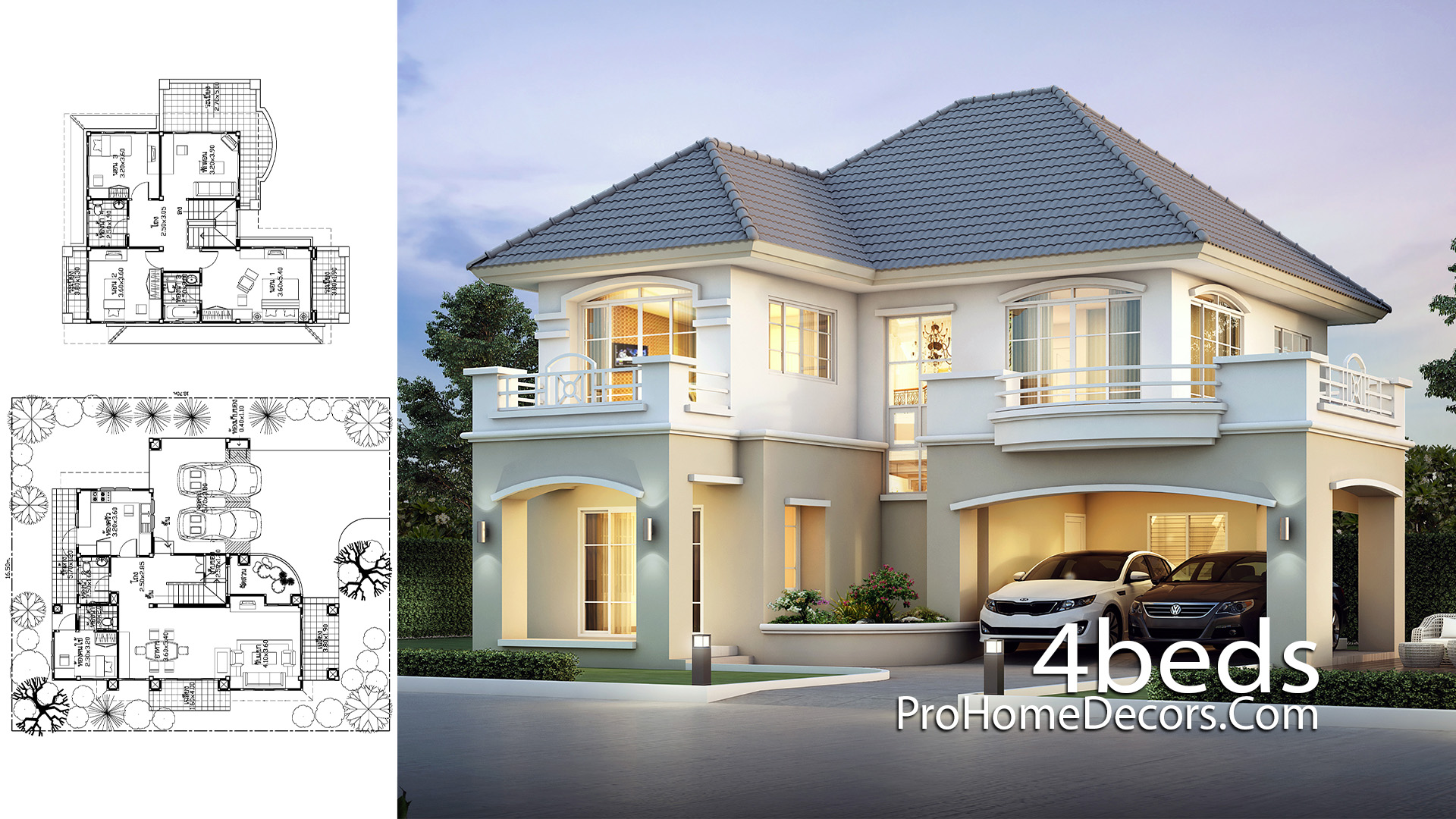 House Plans Plot 16x18 Meter with 4 Bedrooms