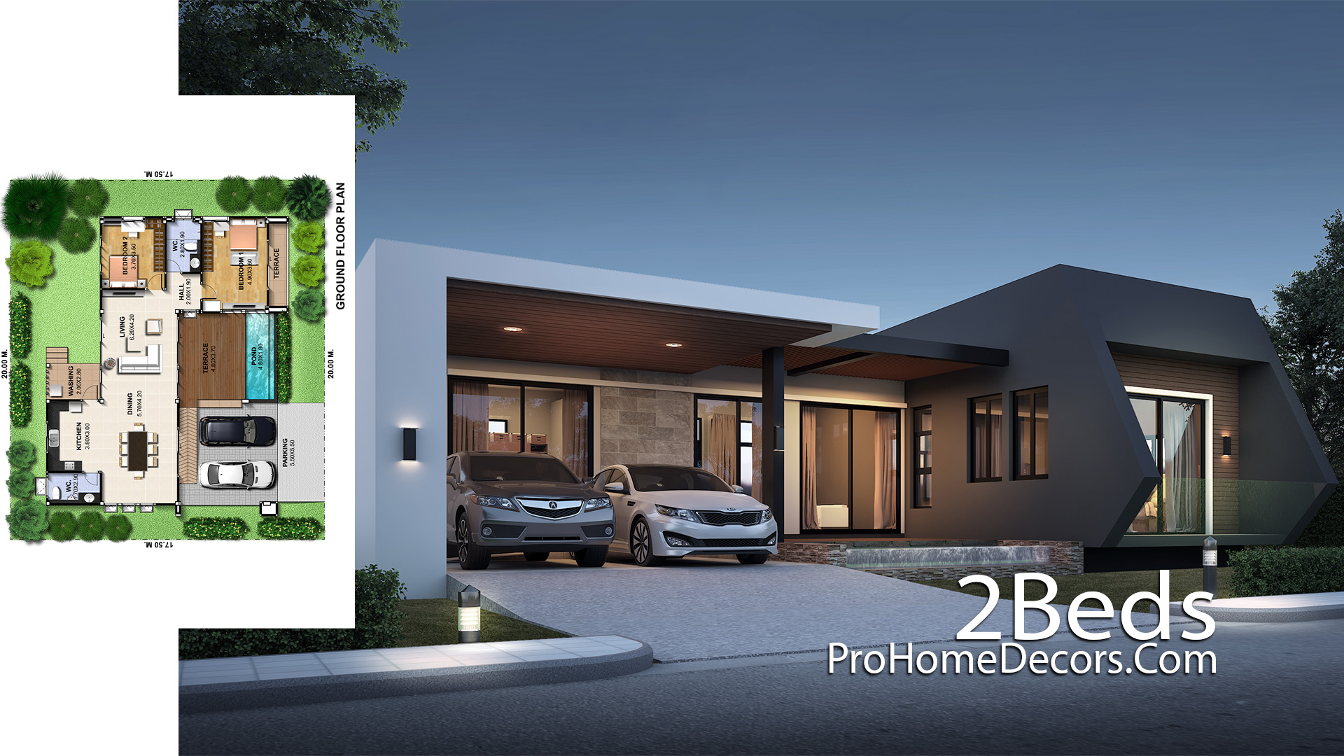 Modern One Story House Plot 20x17 meter with 2 Bedrooms