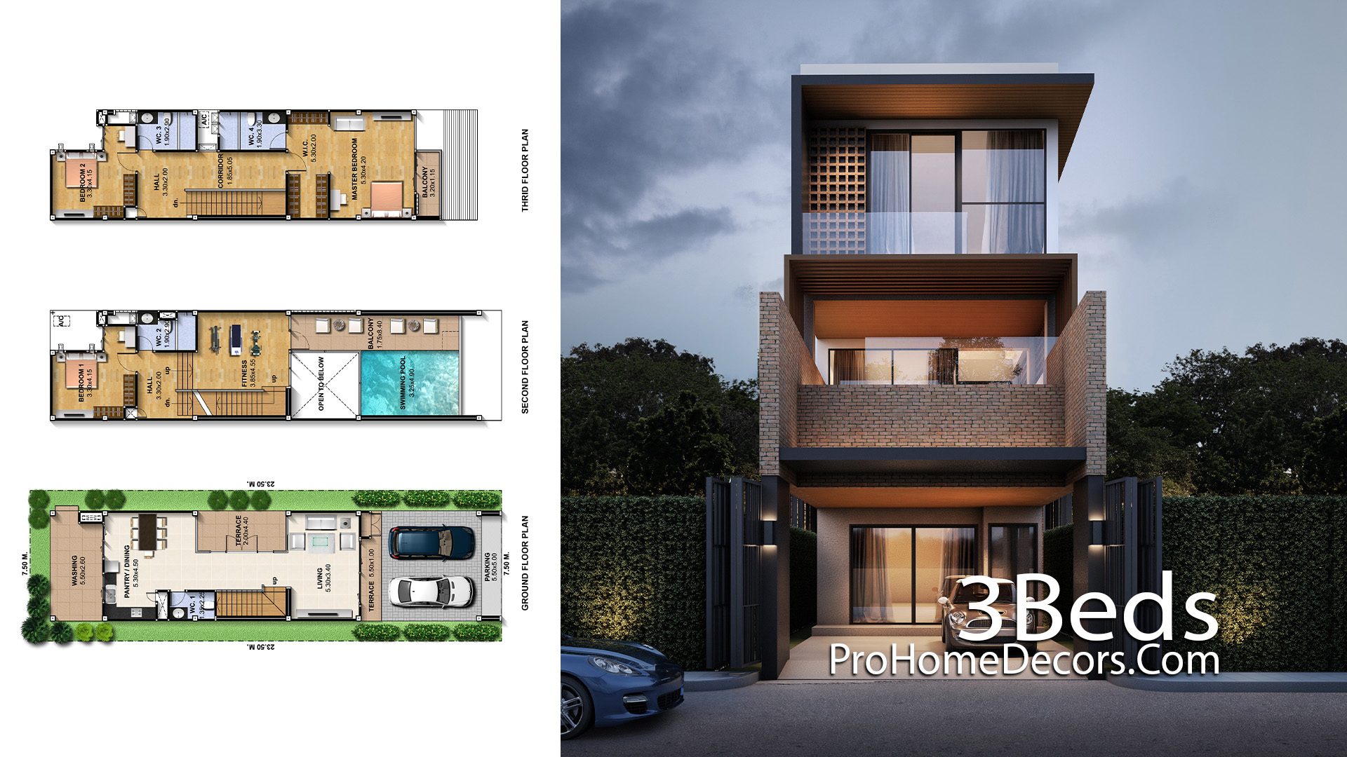 Narrow House Plot 7.5x23.5 Meter with 3 Bedrooms