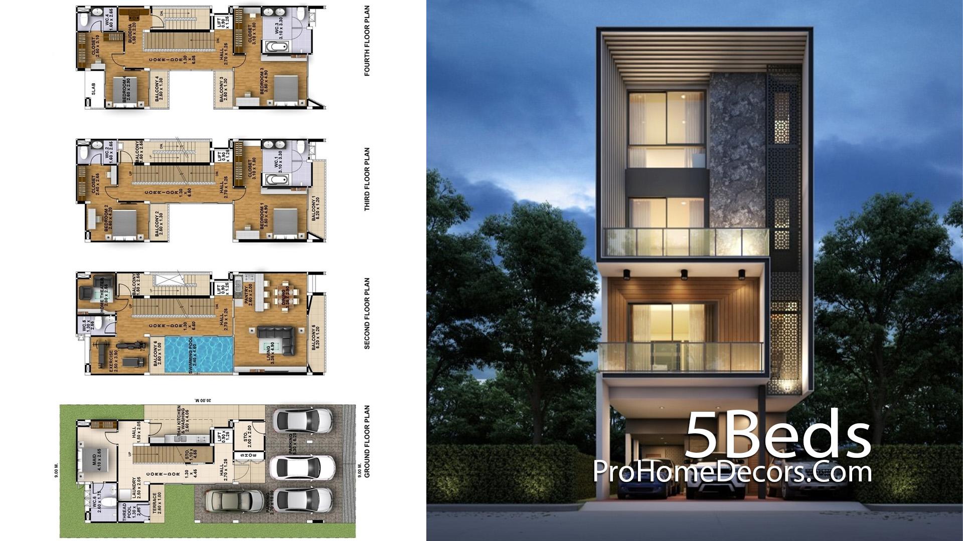 Narrow House Plot 9x20 Meter with 5 Bedrooms