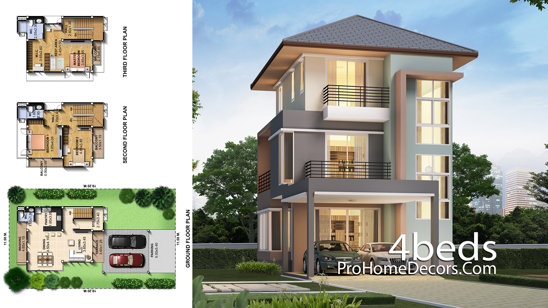 Small House Design 7.5x14 Meter with 3 Bedrooms