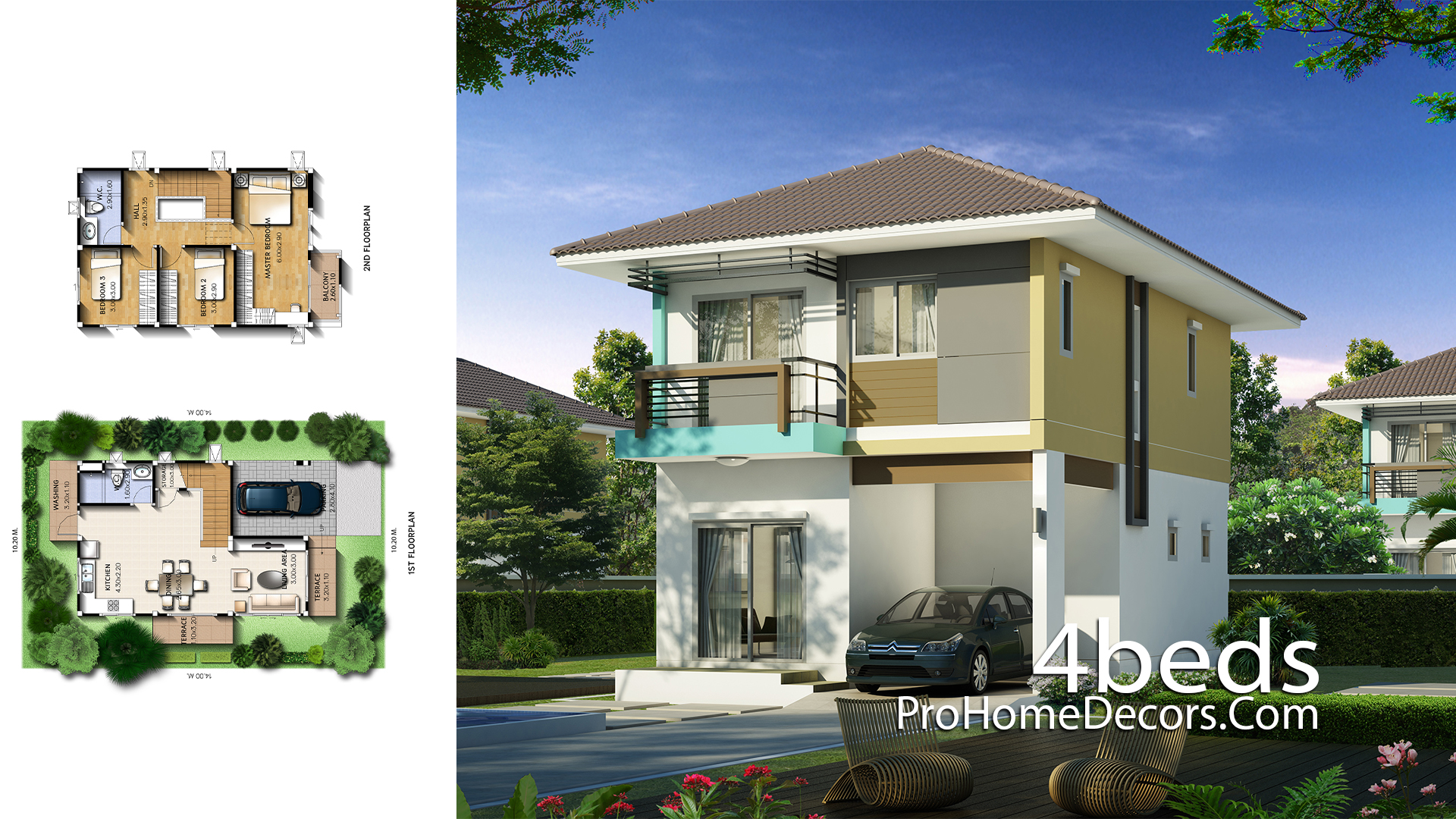 Small House Plan 6x9 Meter With 3 Bedrooms