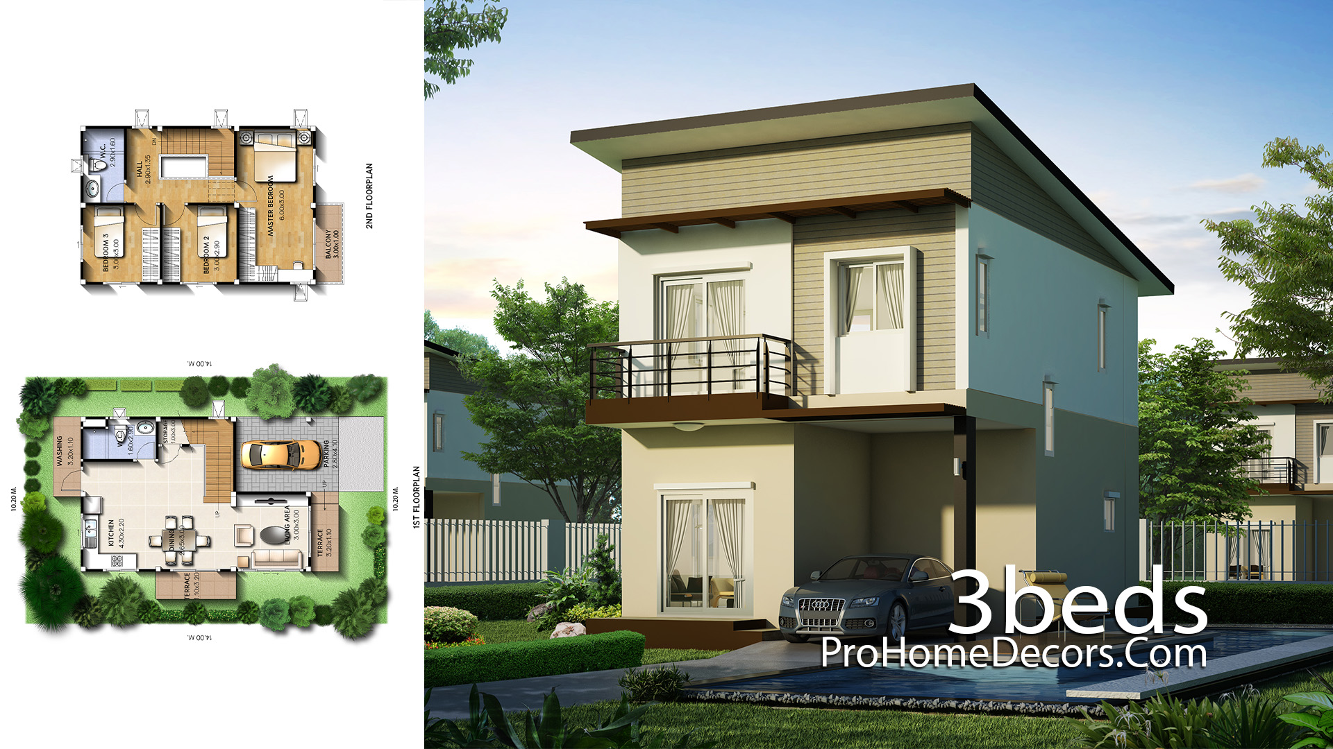 Small House Plot 10x14 Meter with 3 Bedrooms