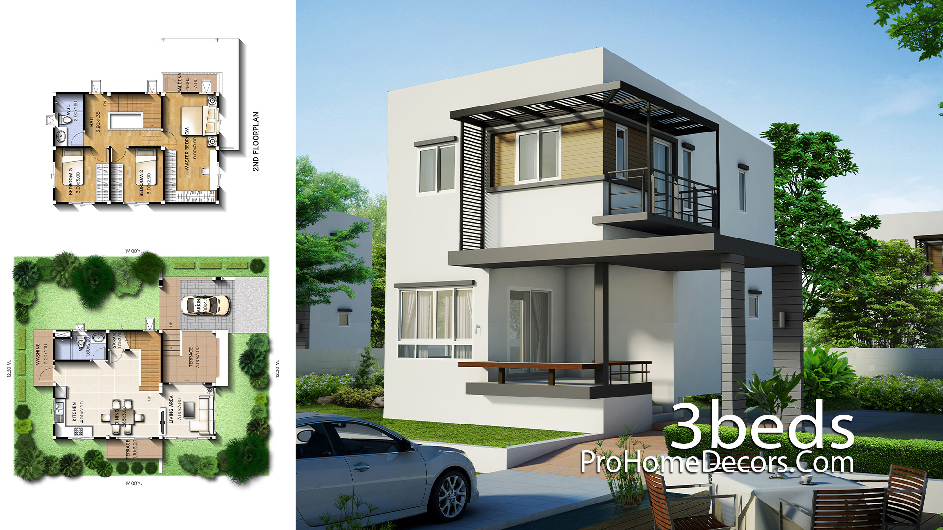 Small House Plot 12x14 Meter with 3 Bedrooms